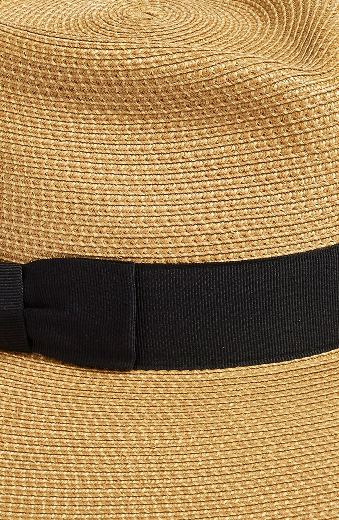 ERIC JAVITS, 'Phoenix' Packable Fedora Sun Hat, Alternate thumbnail 2, color, NATURAL/ BLACK