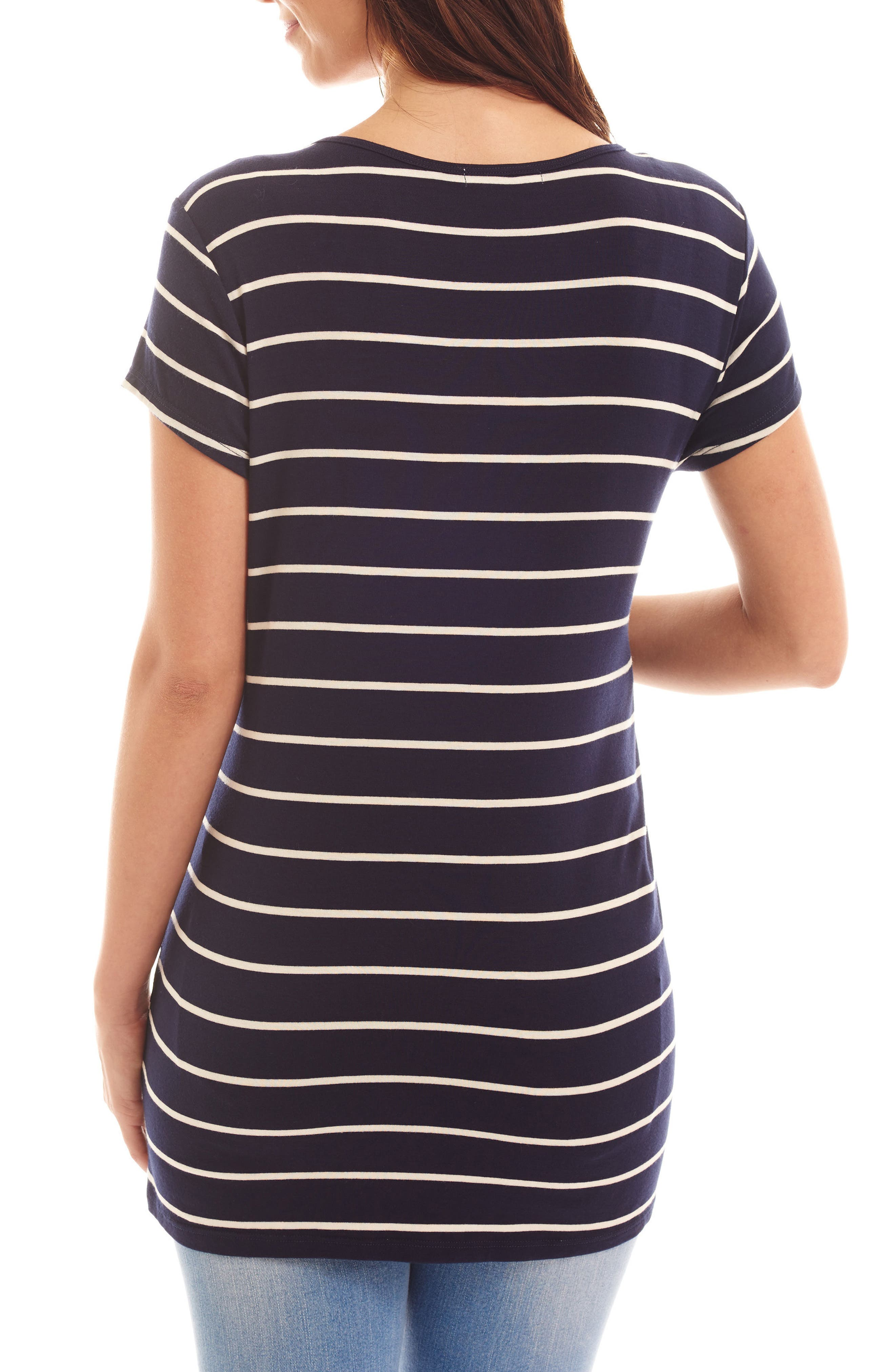 EVERLY GREY, Jonelle Stripe Maternity/Nursing Top, Alternate thumbnail 2, color, NAVY STRIPE