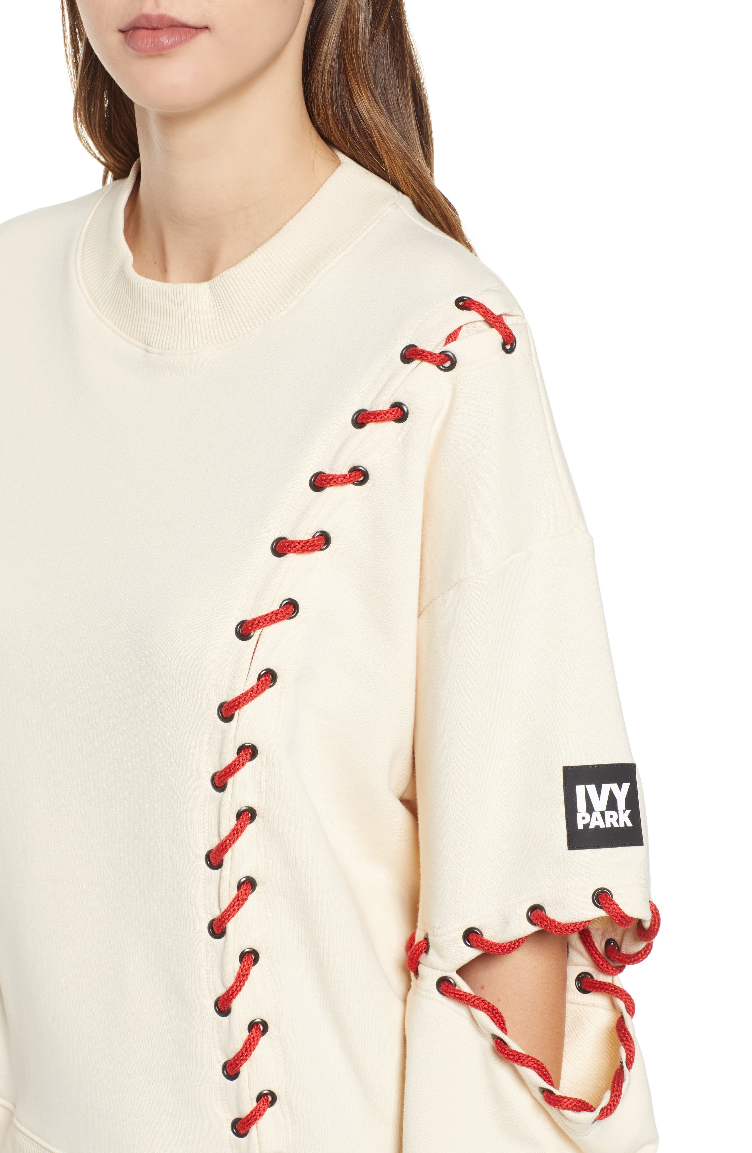 IVY PARK<SUP>®</SUP>, Baseball Stitch Sweatshirt, Alternate thumbnail 5, color, BRAZILIAN SAND