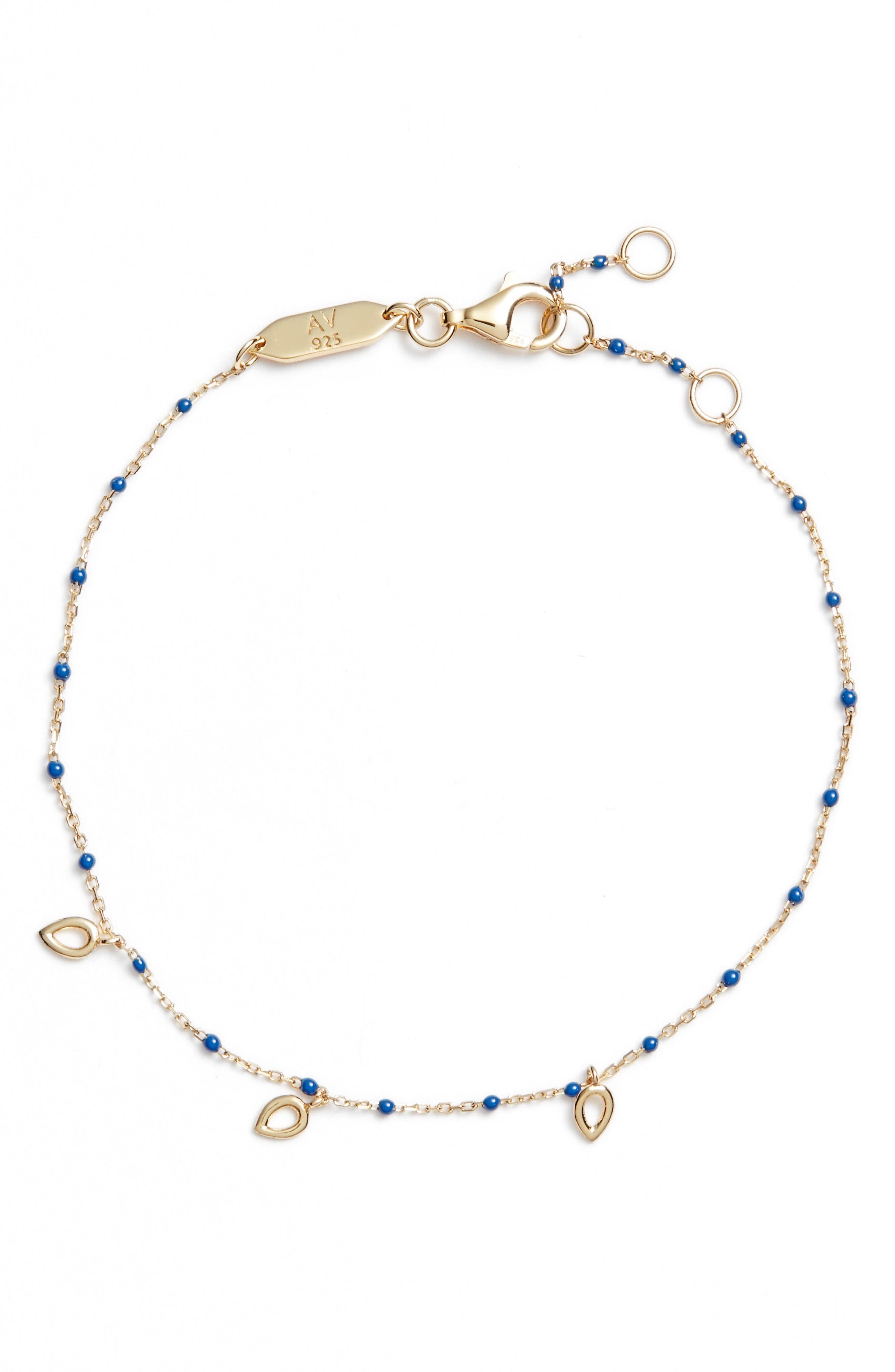 ARGENTO VIVO, Beaded Enamel Teardrop Bracelet, Main thumbnail 1, color, LAPIS