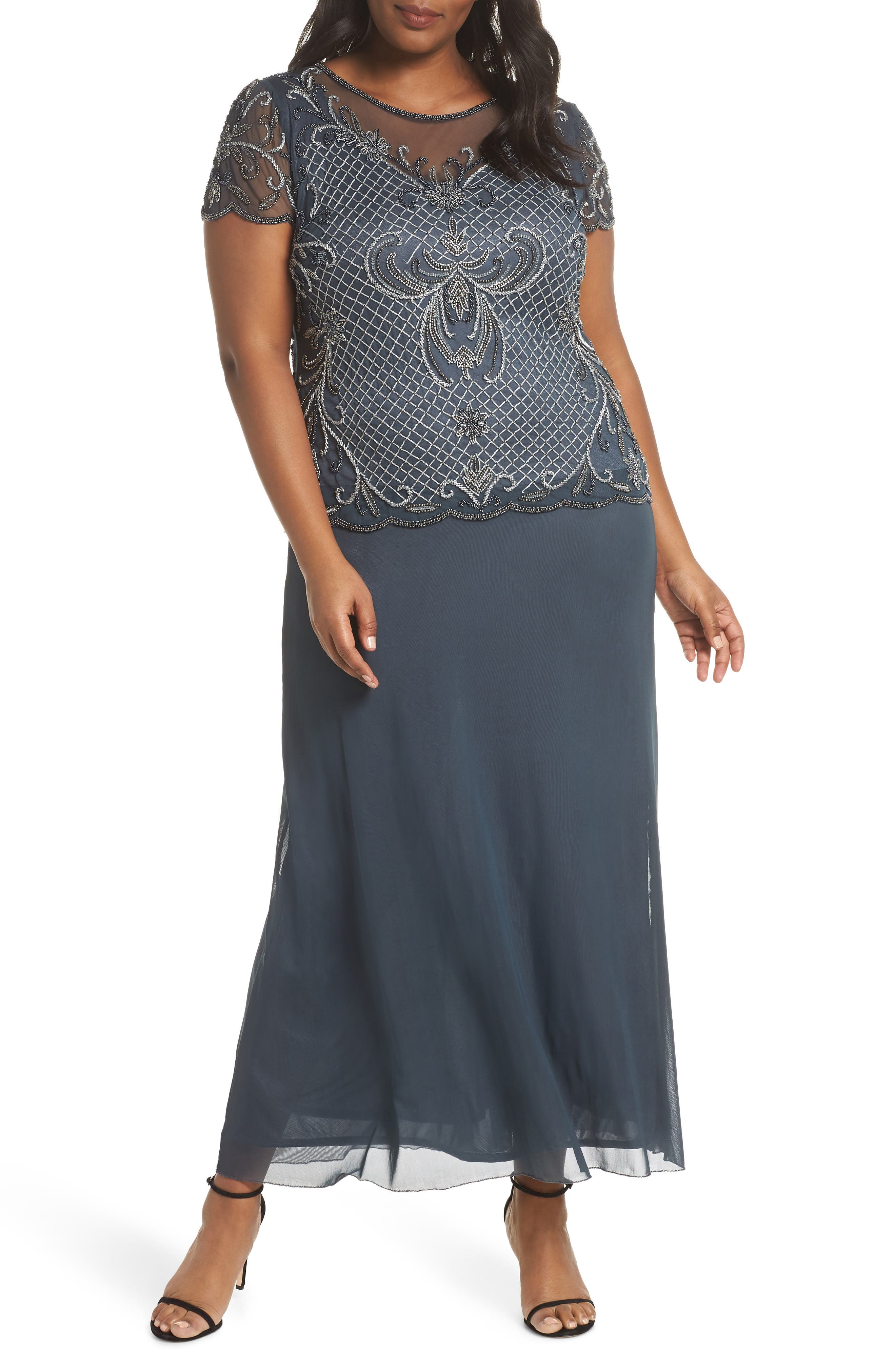 Plus Size Pisarro Nights Mock Two-Piece Beaded Bodice Evening Dress, Grey