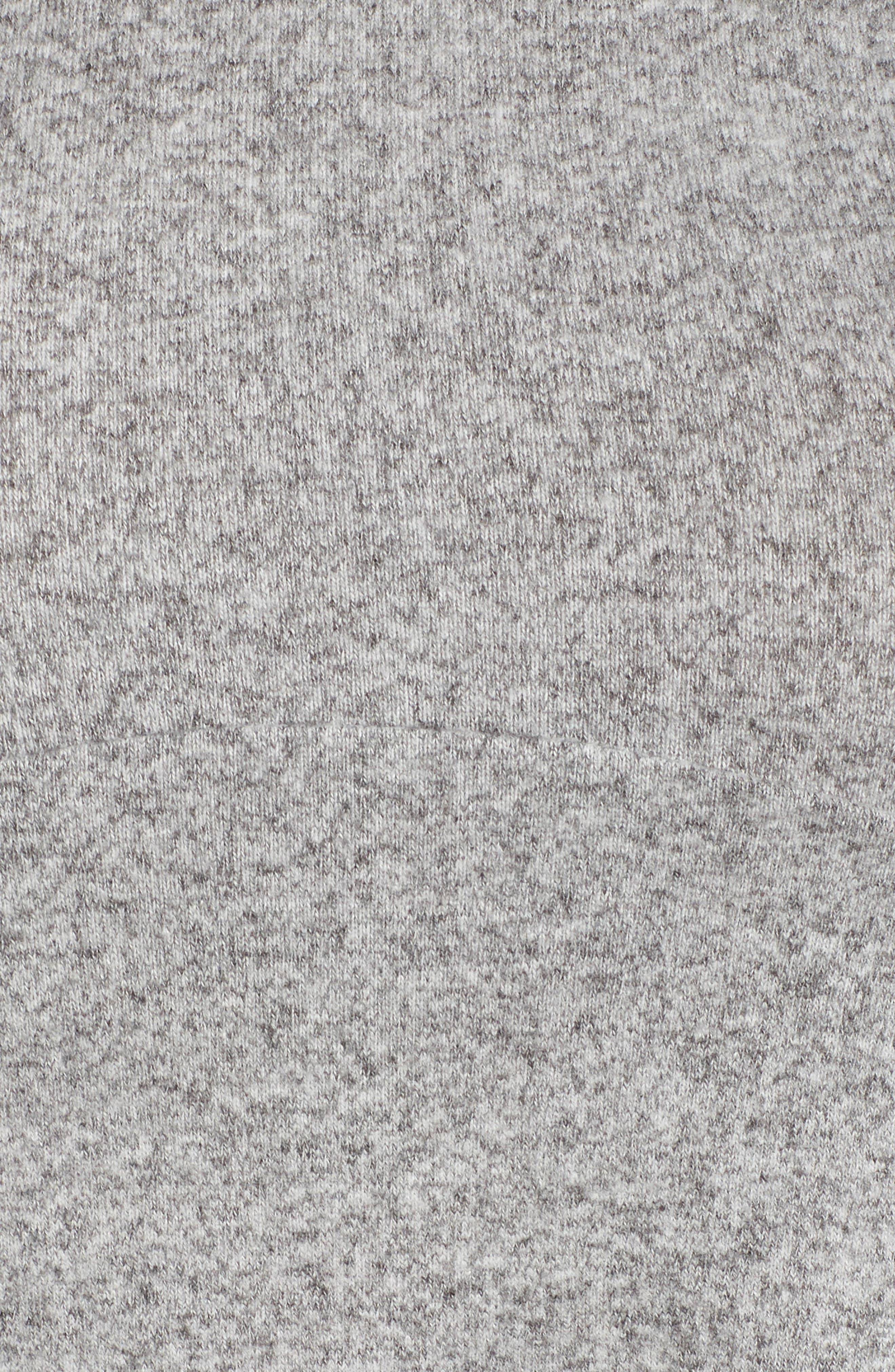 BOBEAU, Brushed Knit Babydoll Top, Alternate thumbnail 5, color, HEATHER GREY