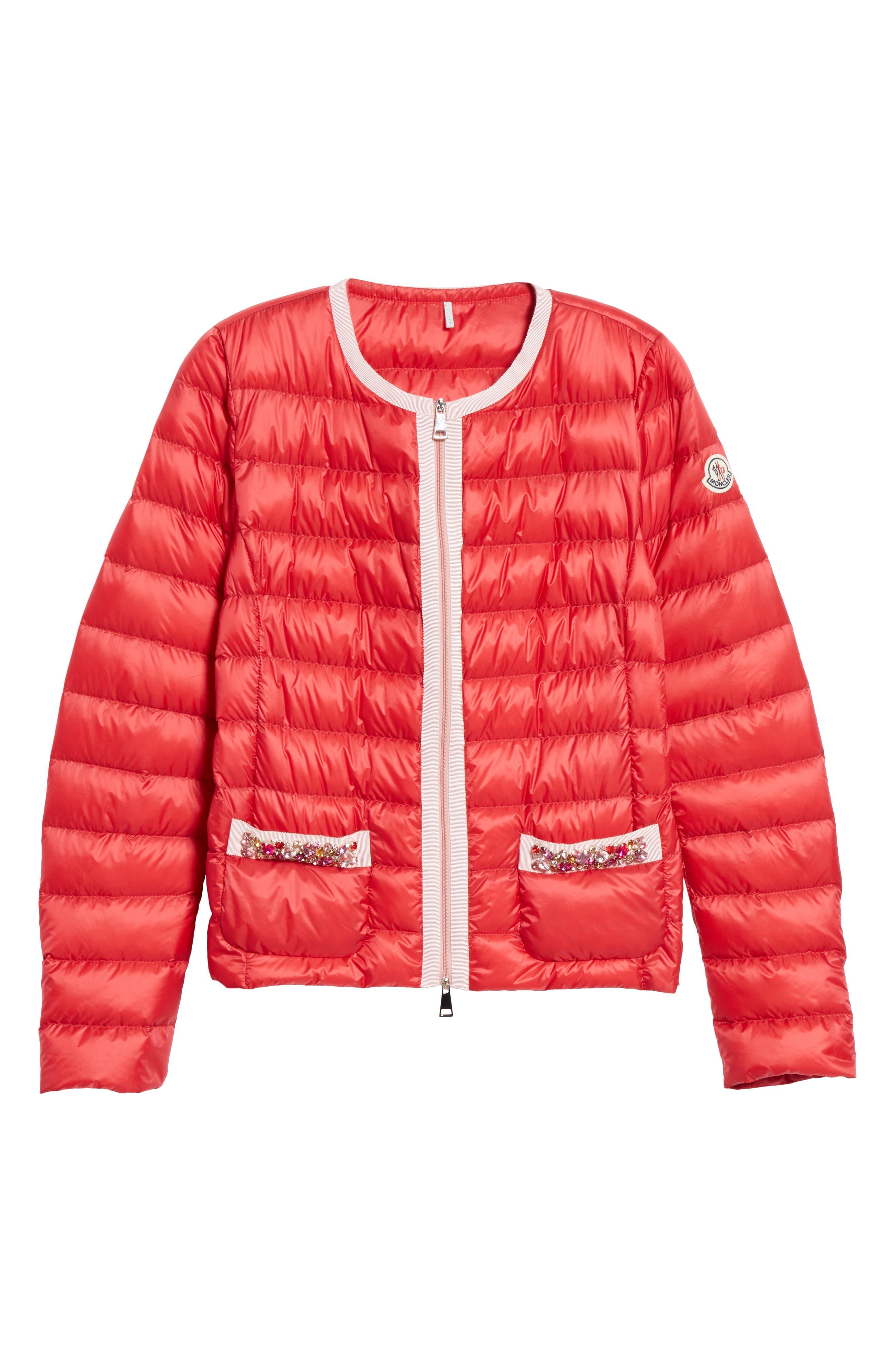 MONCLER, Cristalline Jacket, Alternate thumbnail 6, color, RED