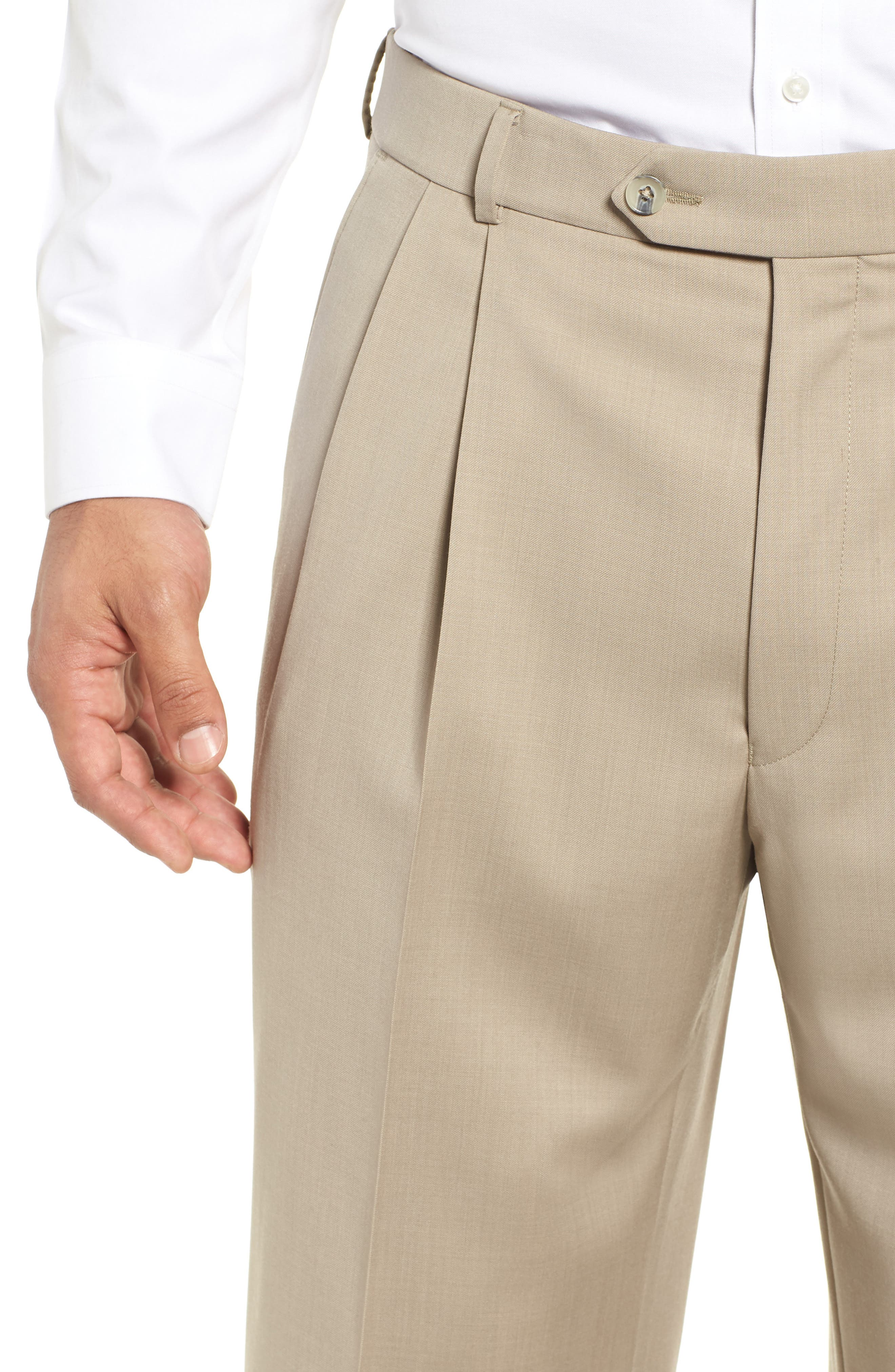 BALLIN, Pleated Solid Wool Trousers, Alternate thumbnail 4, color, OATMEAL