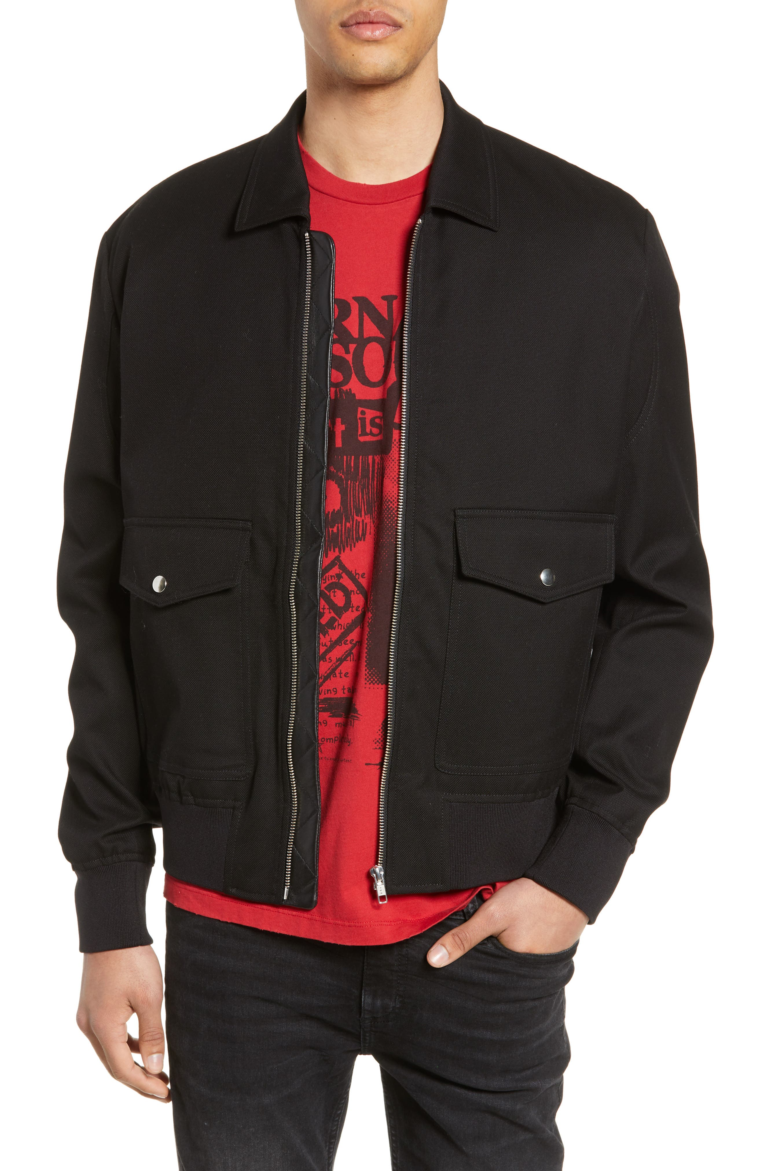 THE KOOPLES Leather Detail Jacket, Main, color, BLACK