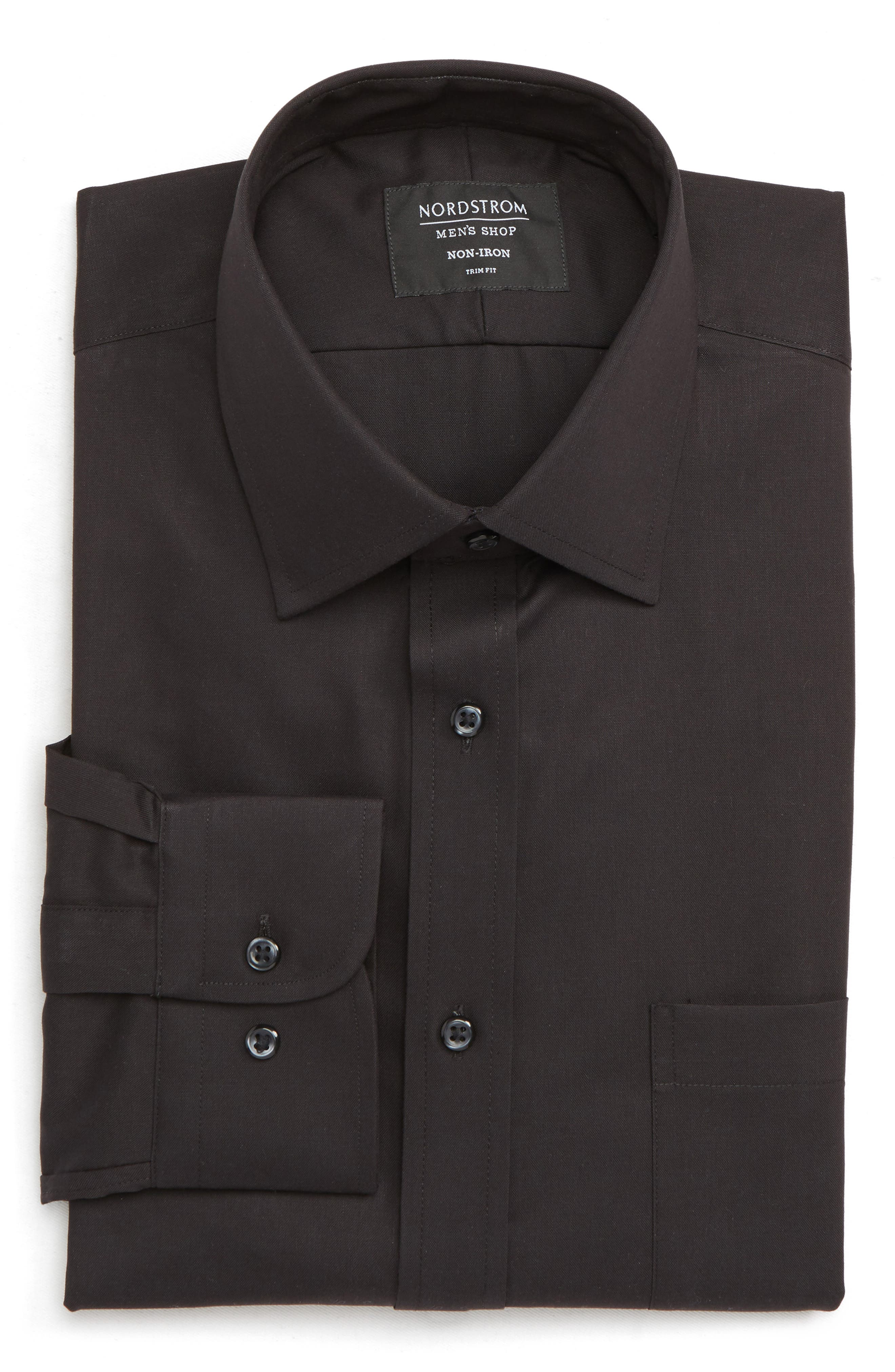 NORDSTROM MEN'S SHOP, Trim Fit Non-Iron Dress Shirt, Alternate thumbnail 5, color, BLACK
