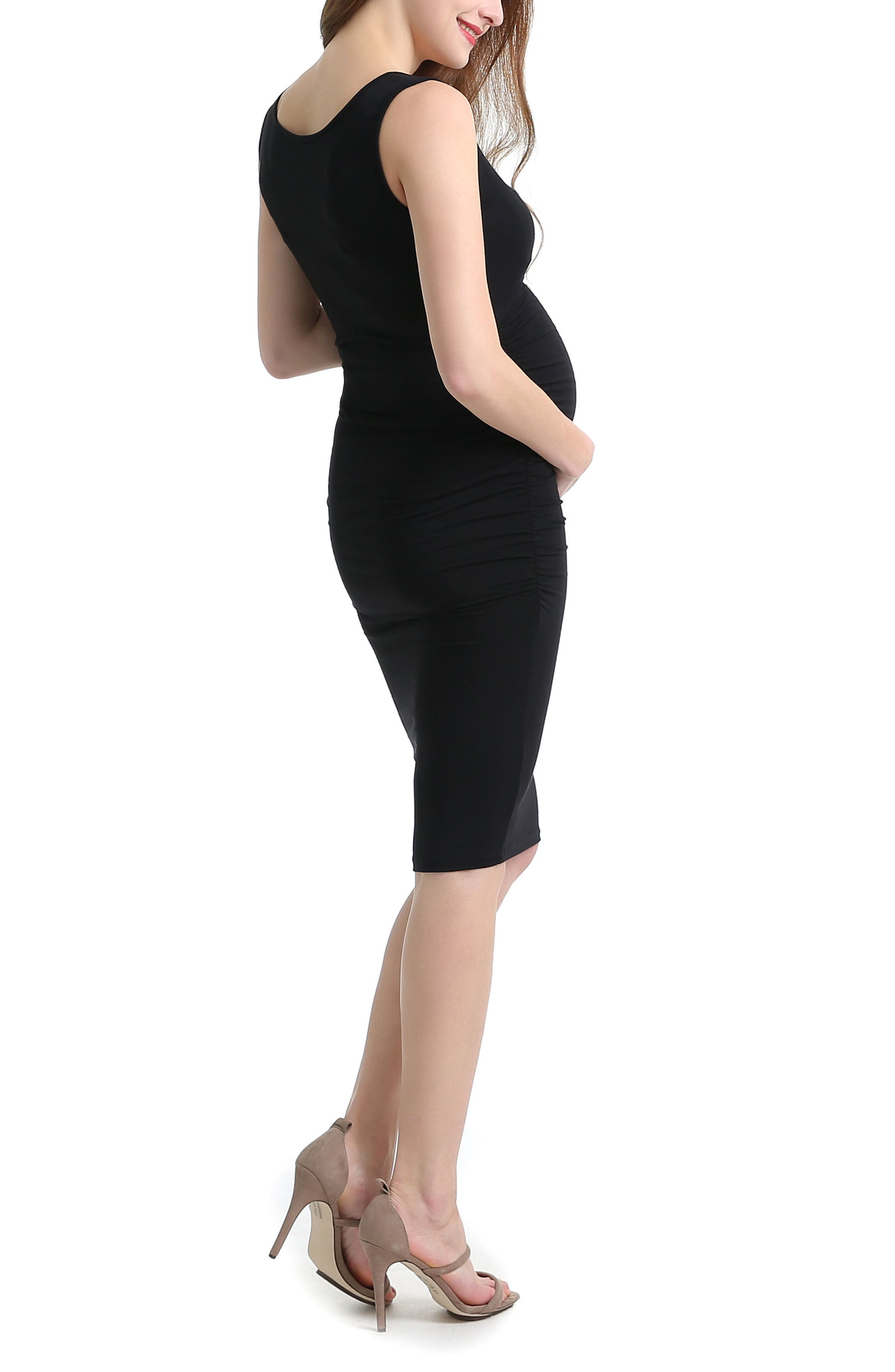 KIMI AND KAI, Delia Ruched Maternity Tank Dress, Alternate thumbnail 2, color, BLACK