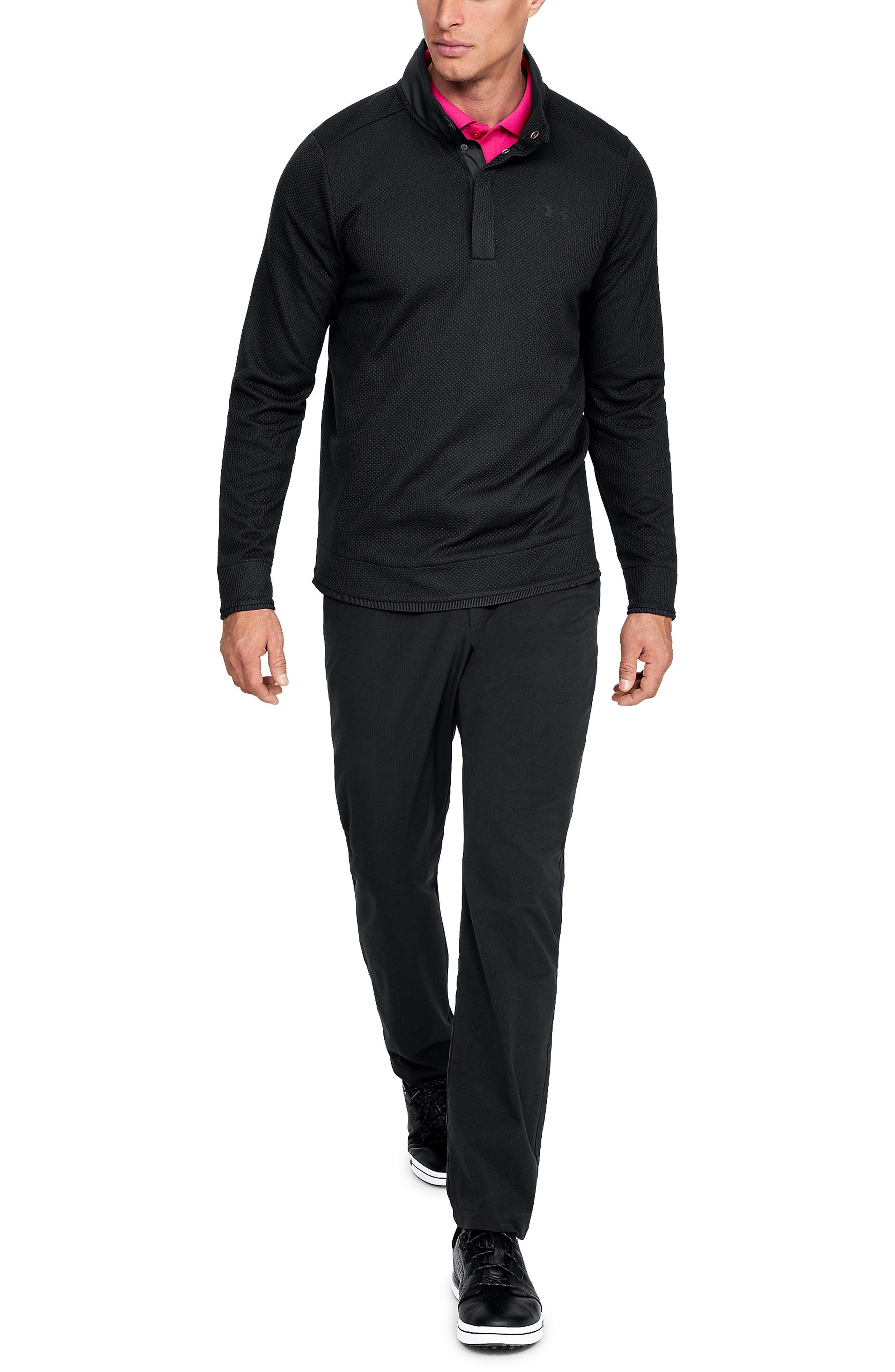 UNDER ARMOUR, Storm SweaterFleece Snap Mock Neck Pullover, Alternate thumbnail 4, color, BLACK/ BLACK/ BLACK