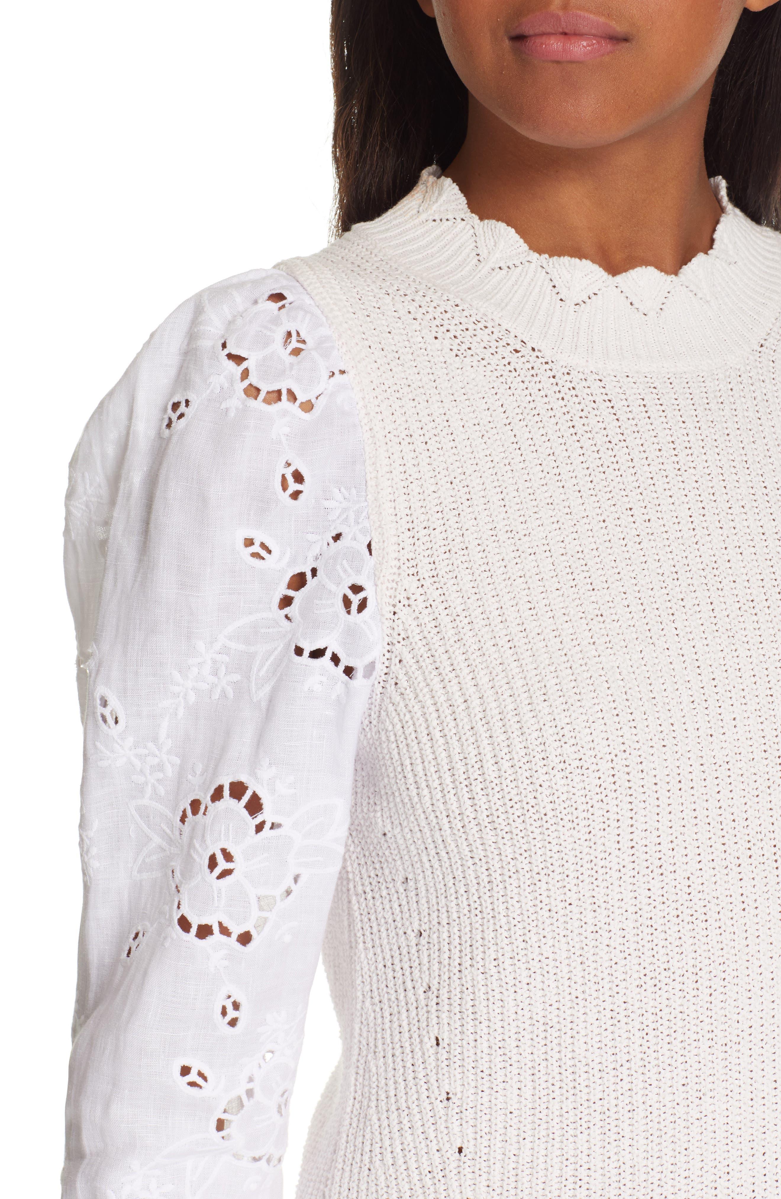 REBECCA TAYLOR, Mix Media Eyelet Sleeve Cotton Sweater, Alternate thumbnail 4, color, WASHED PETAL