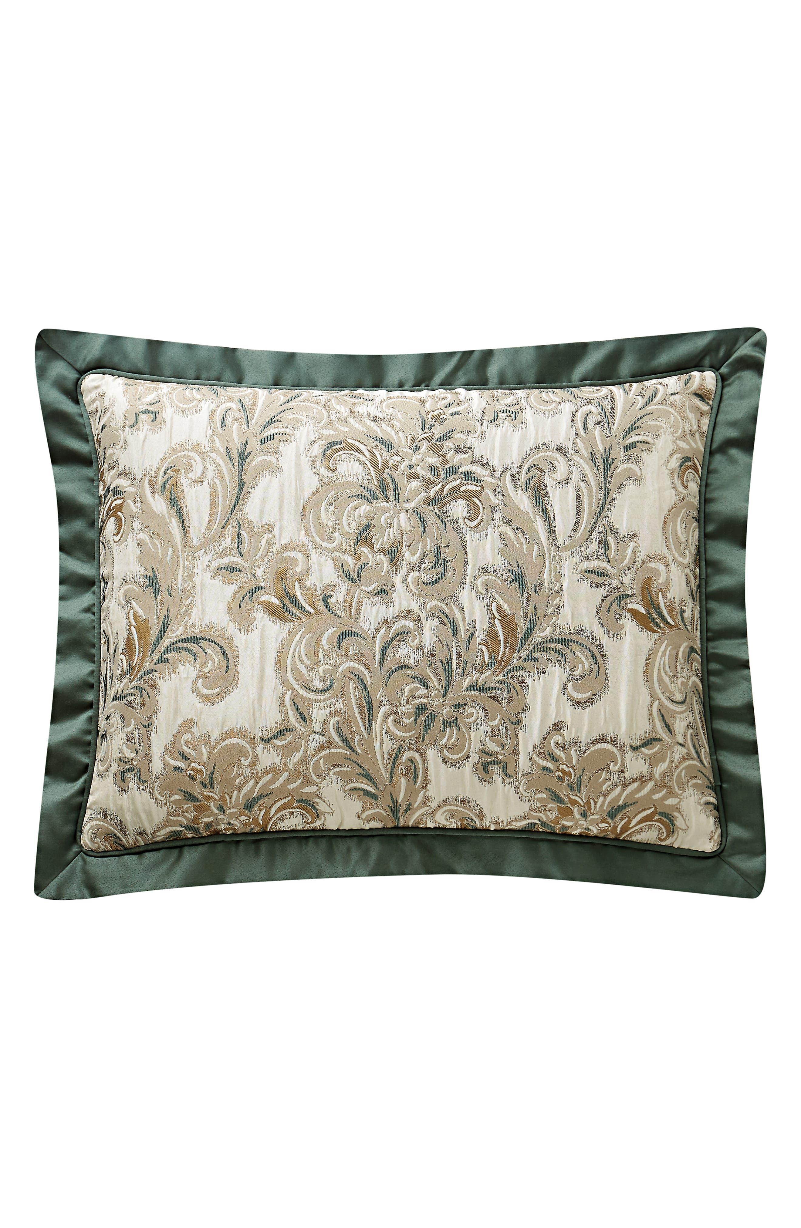 WATERFORD, Anora Comforter, Sham & Bed Skirt Set, Alternate thumbnail 7, color, BRASS/ JADE