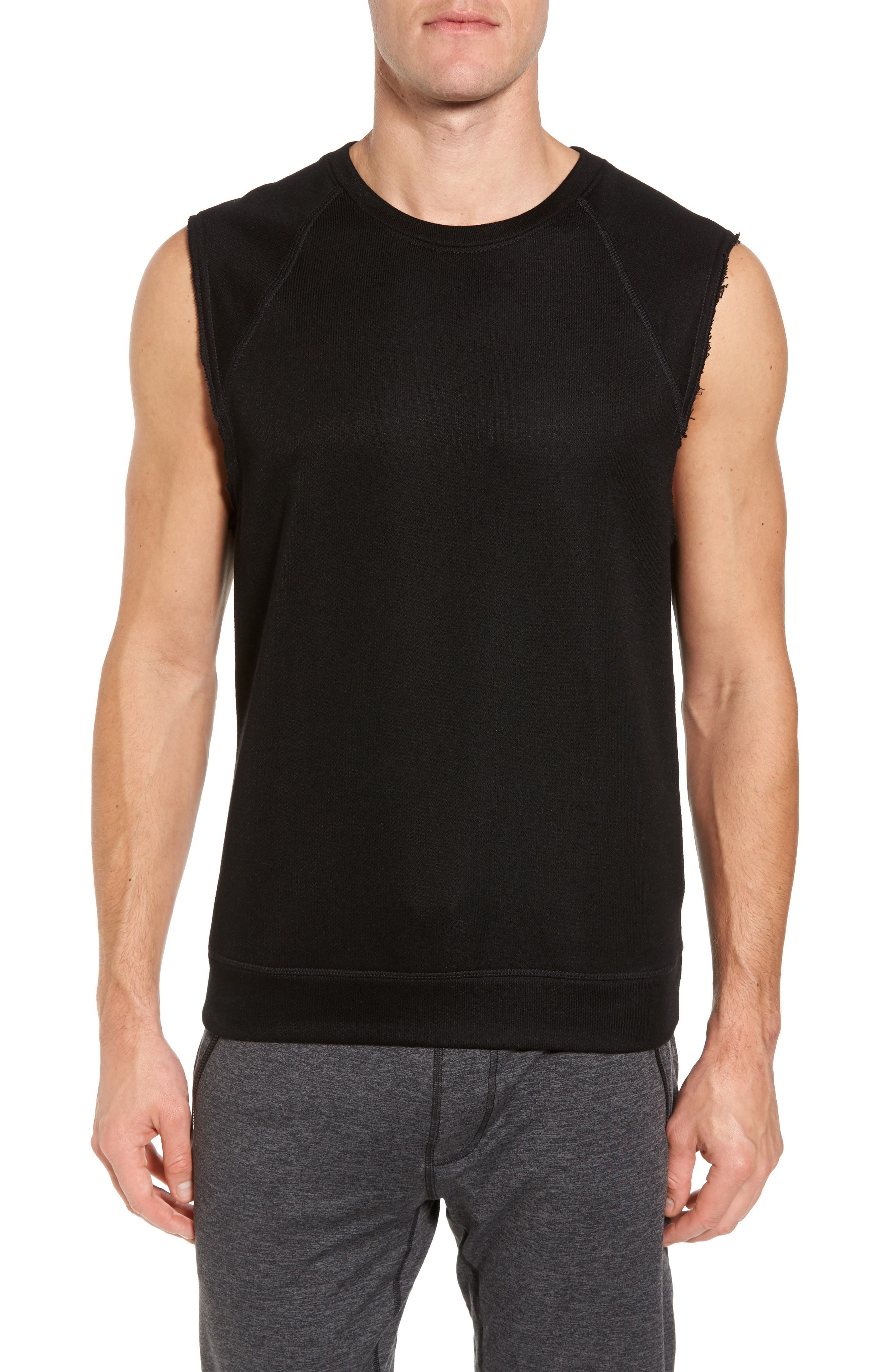 ALO Dosha Relaxed Fit Sweatshirt Tank, Main, color, BLACK