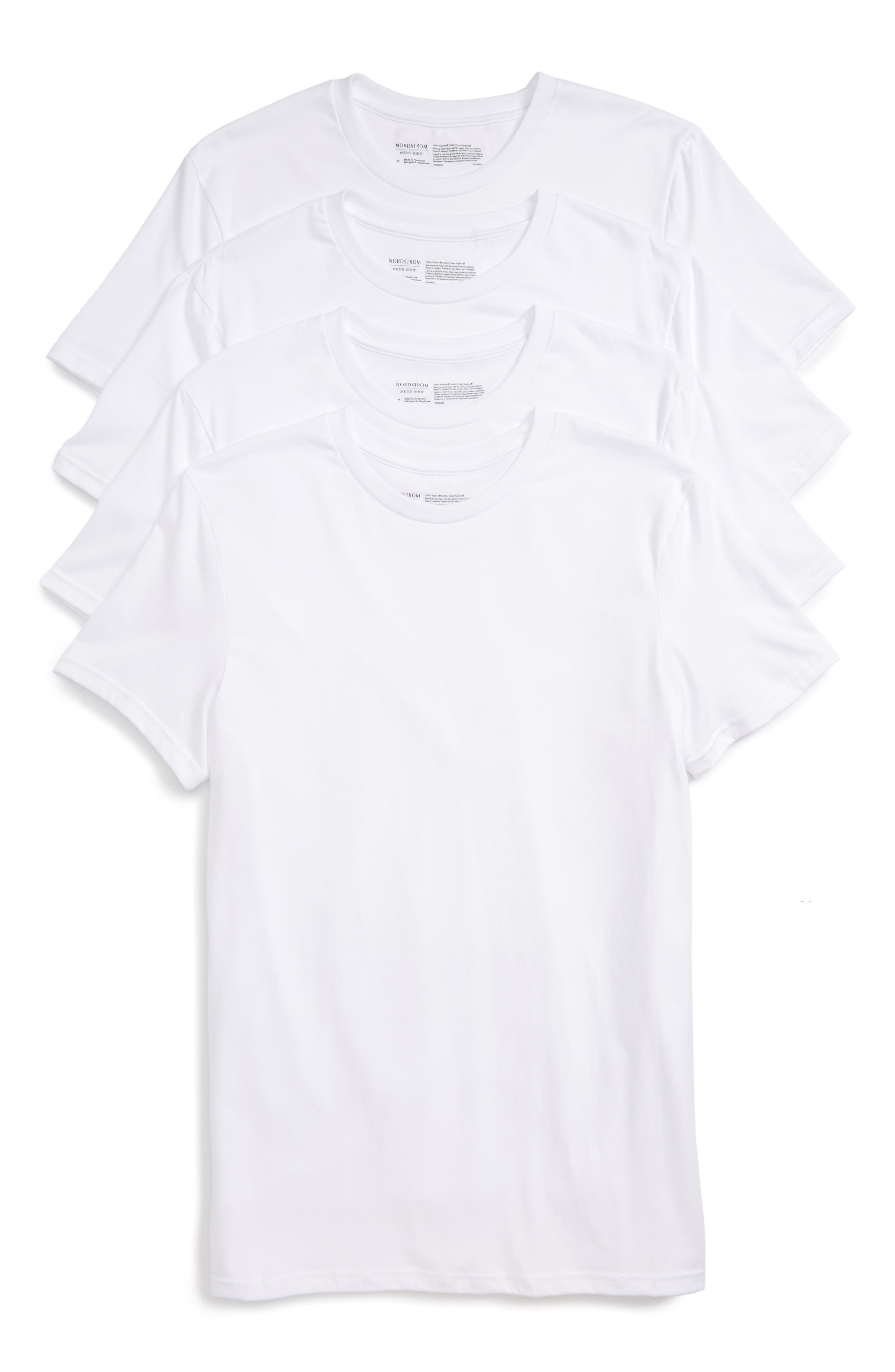 NORDSTROM MEN'S SHOP 4-Pack Trim Fit Supima<sup>®</sup> Cotton Crewneck T-Shirt, Main, color, WHITE