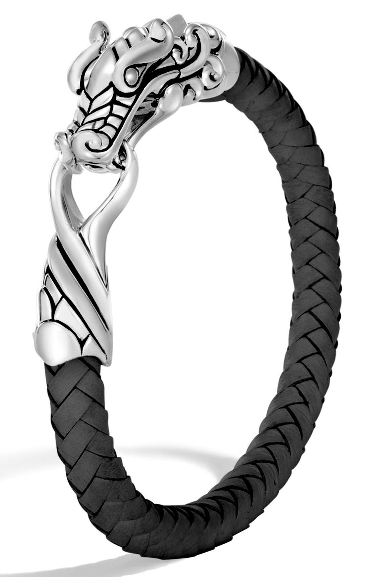 JOHN HARDY, Legends Naga Braided Leather Bracelet, Main thumbnail 1, color, BLACK