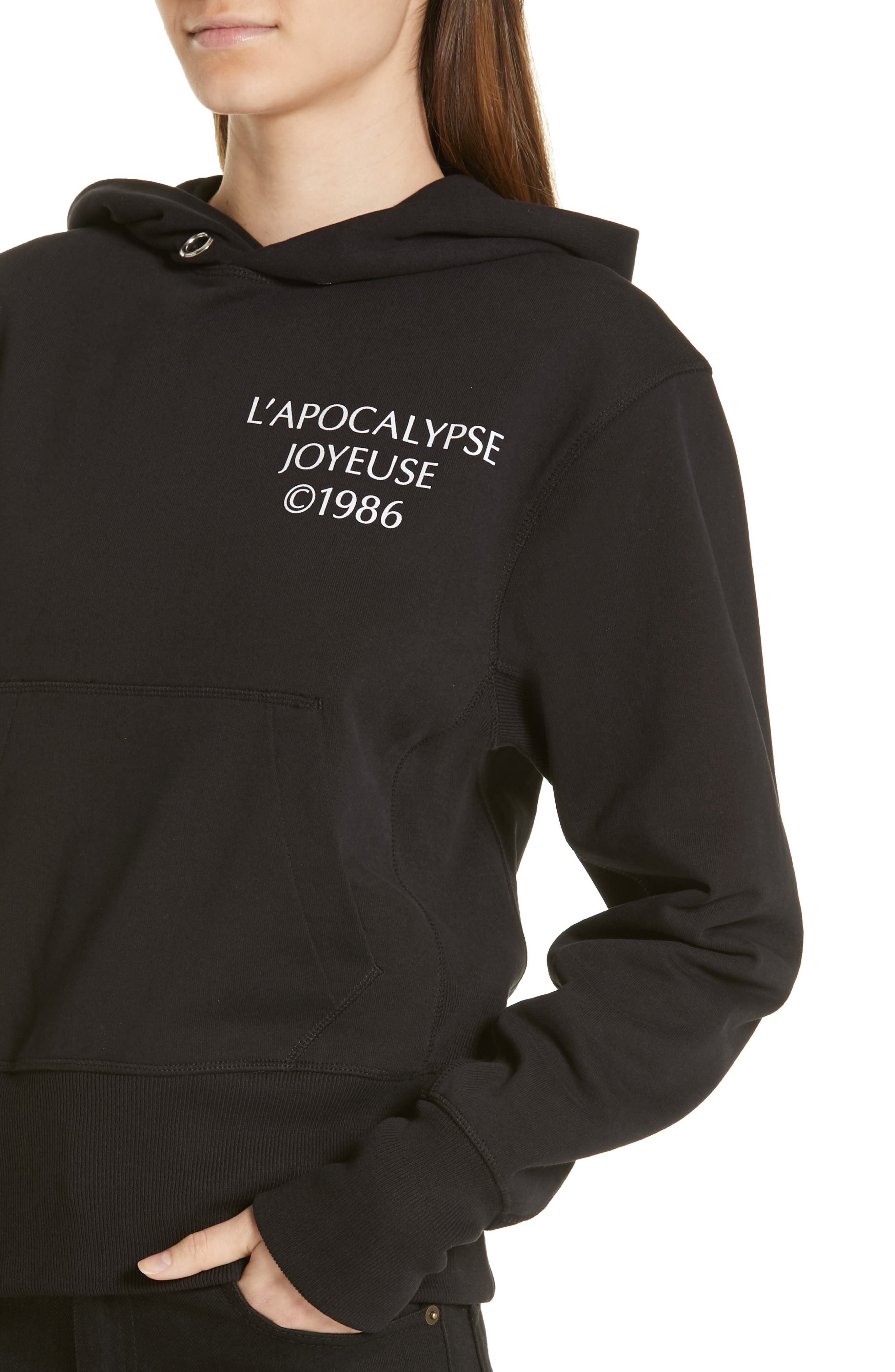 HELMUT LANG, Logo Hack Hoodie, Alternate thumbnail 4, color, BLACK BASALT/ LAVA