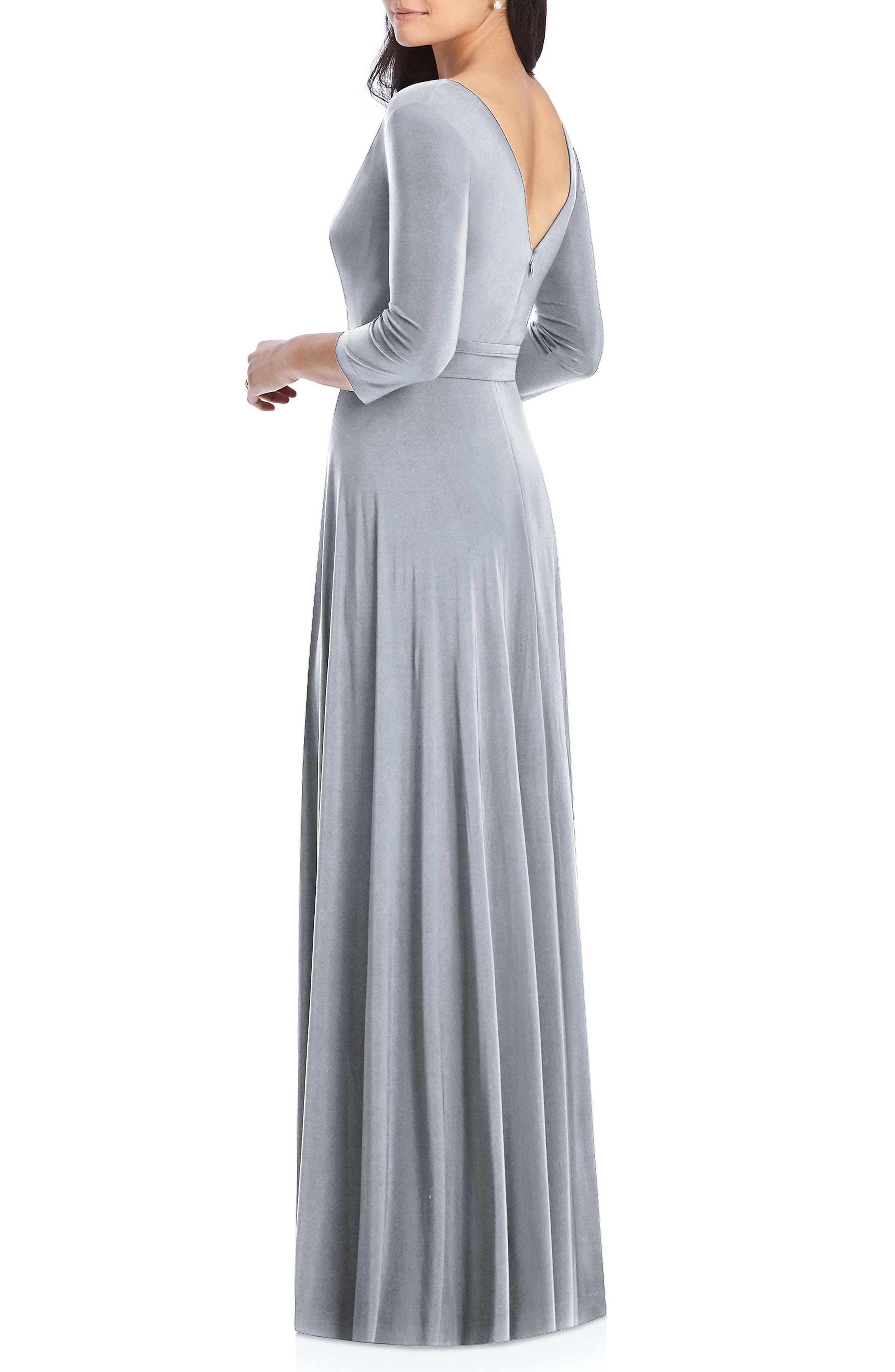 DESSY COLLECTION, Jersey Tie Waist Gown, Alternate thumbnail 2, color, PLATINUM
