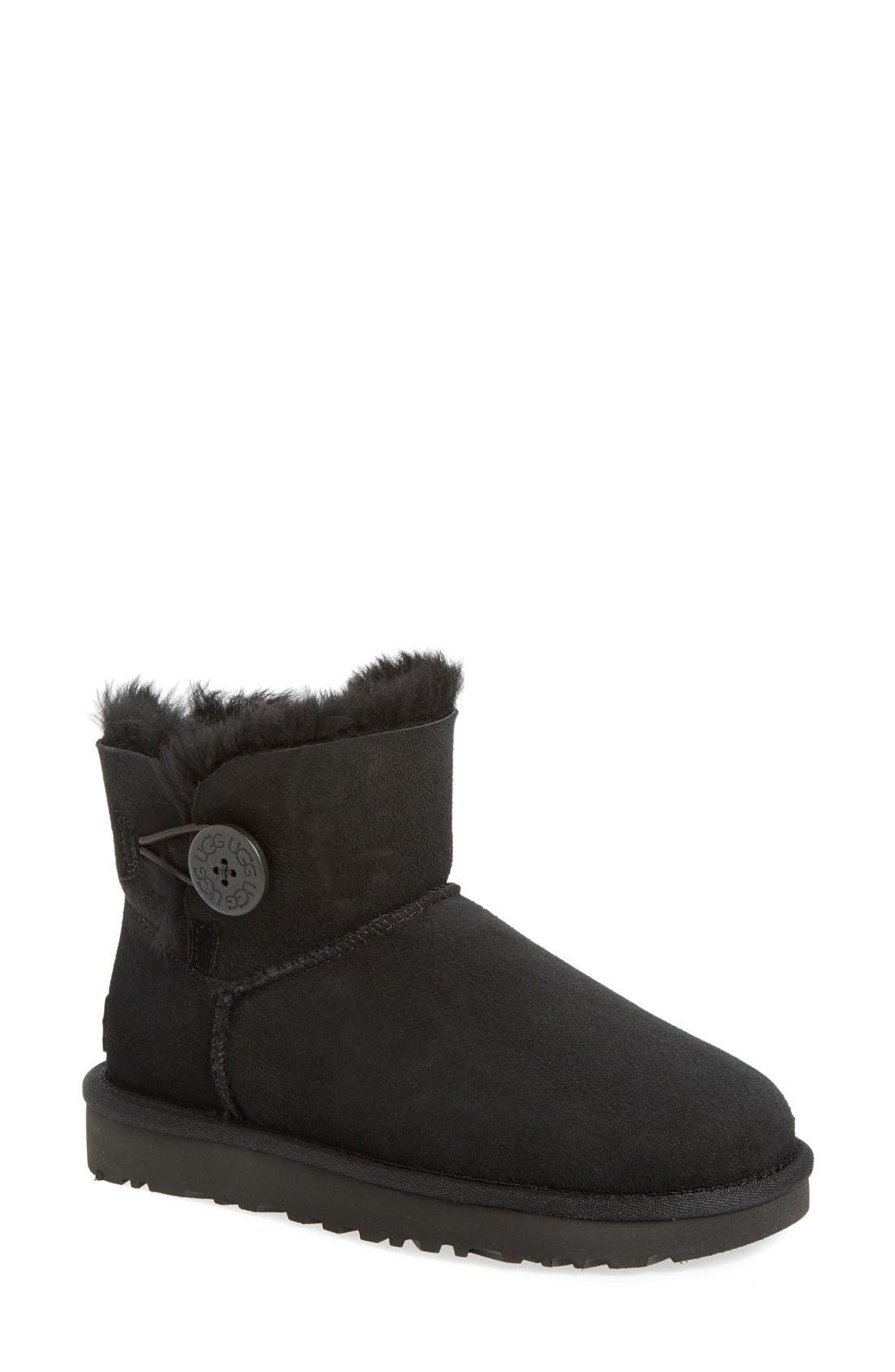 UGG<SUP>®</SUP>, Mini Bailey Button II Genuine Shearling Boot, Main thumbnail 1, color, BLACK SUEDE
