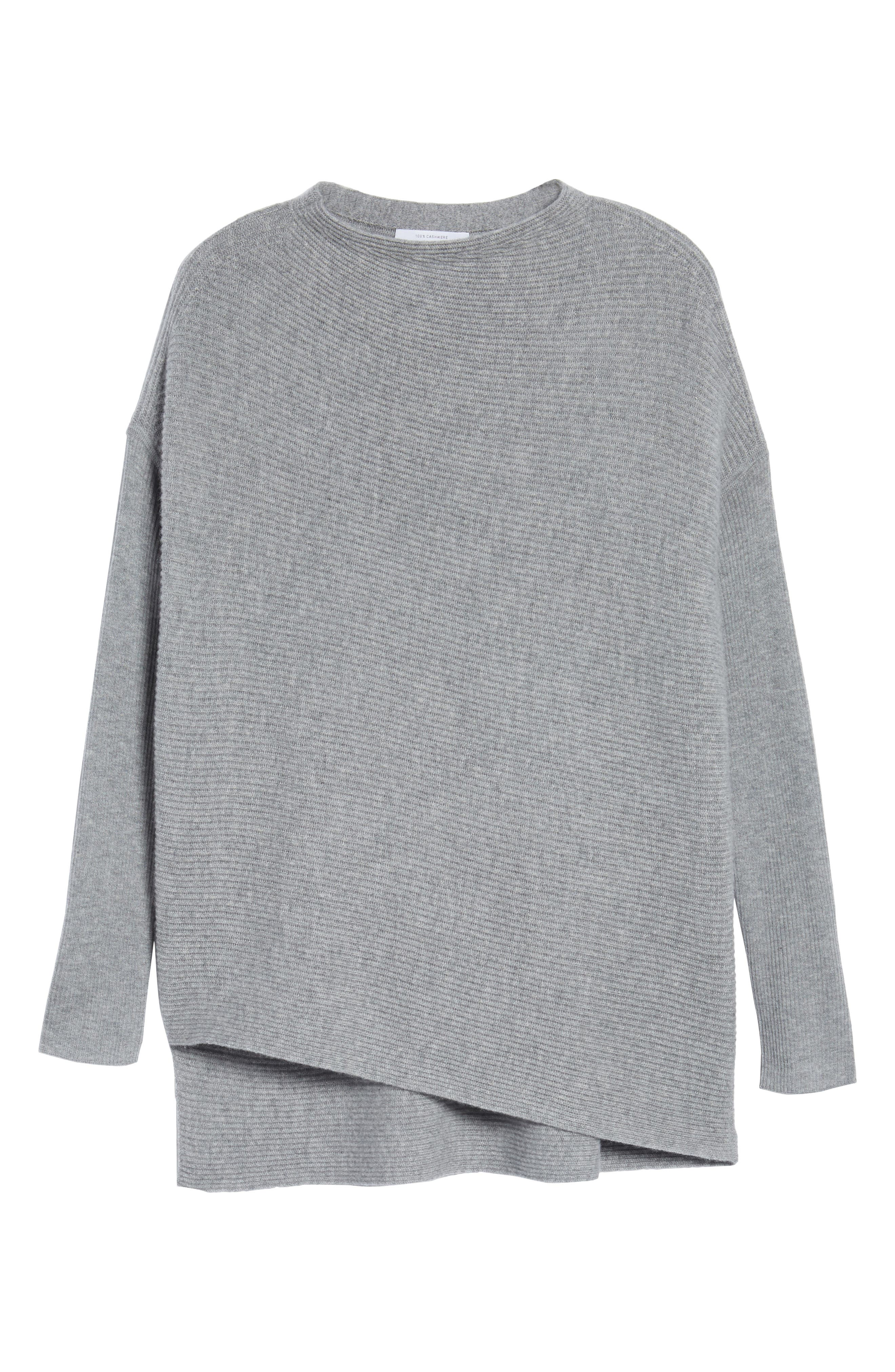 NORDSTROM SIGNATURE, Cashmere Asymmetrical Pullover, Alternate thumbnail 6, color, GREY FILIGREE HEATHER