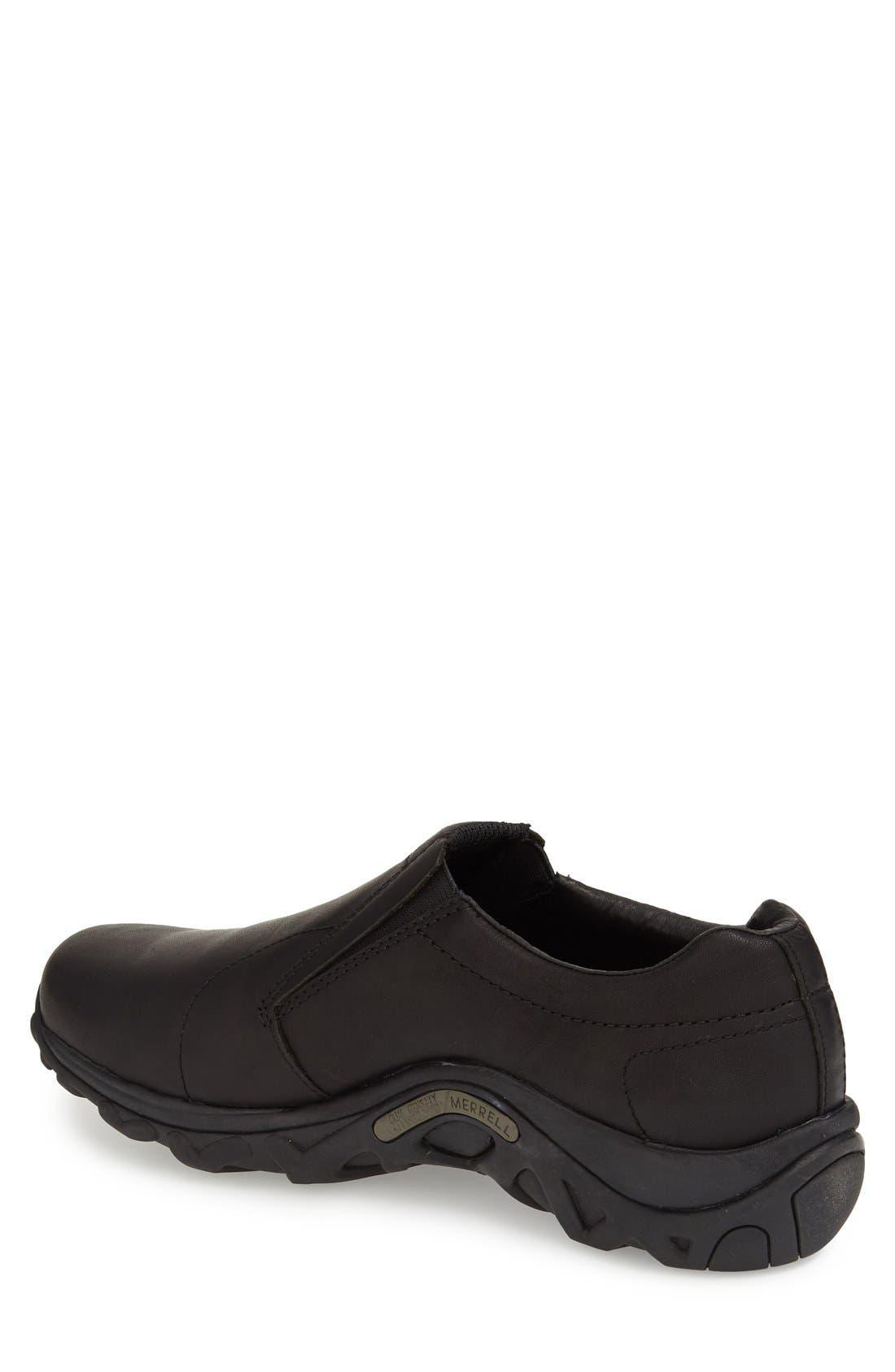 MERRELL, 'Jungle Moc' Leather Athletic Slip-On, Alternate thumbnail 3, color, BLACK