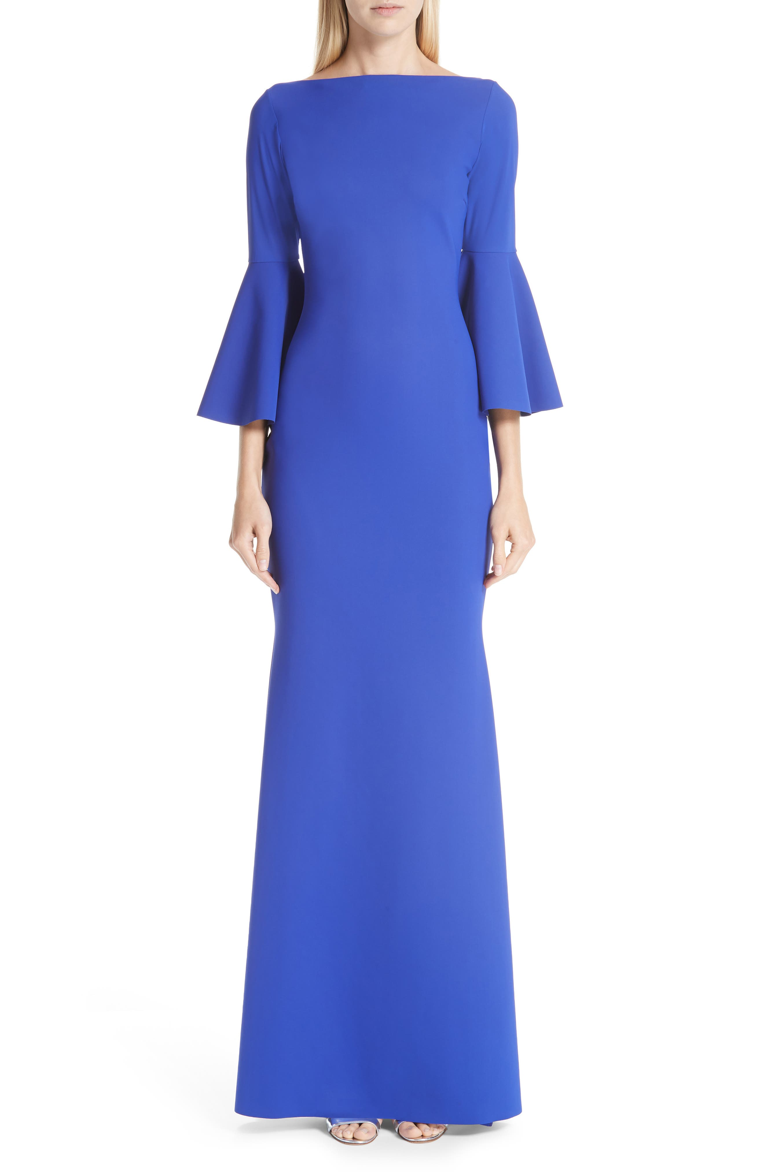 Chiara Boni La Petite Robe Iva Bell Sleeve Evening Dress, 8 IT - Blue