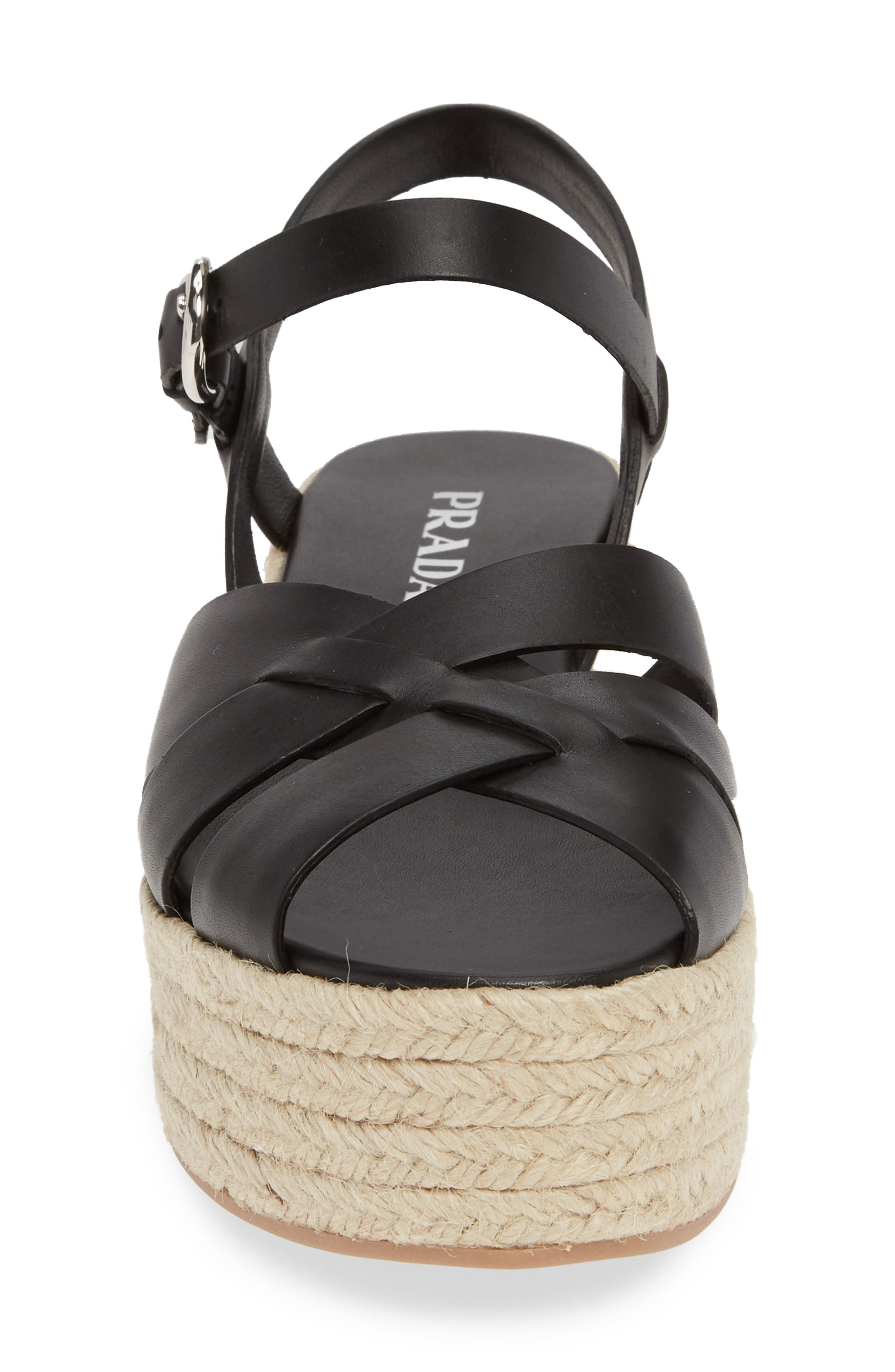 PRADA, Platform Espadrille Sandal, Alternate thumbnail 4, color, BLACK