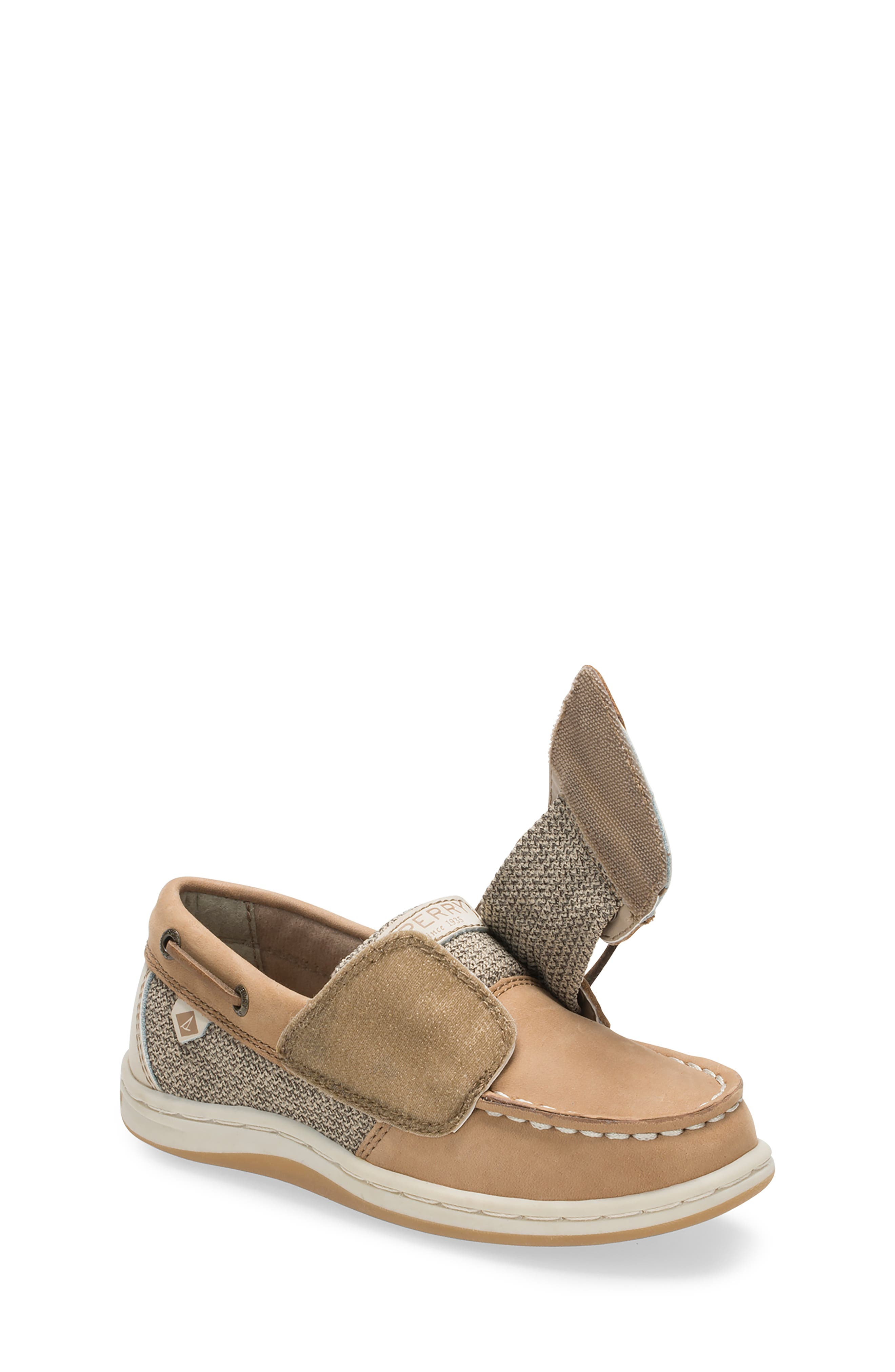 SPERRY KIDS, 'Songfish' Boat Shoe, Alternate thumbnail 3, color, LINEN/ OAT LEATHER