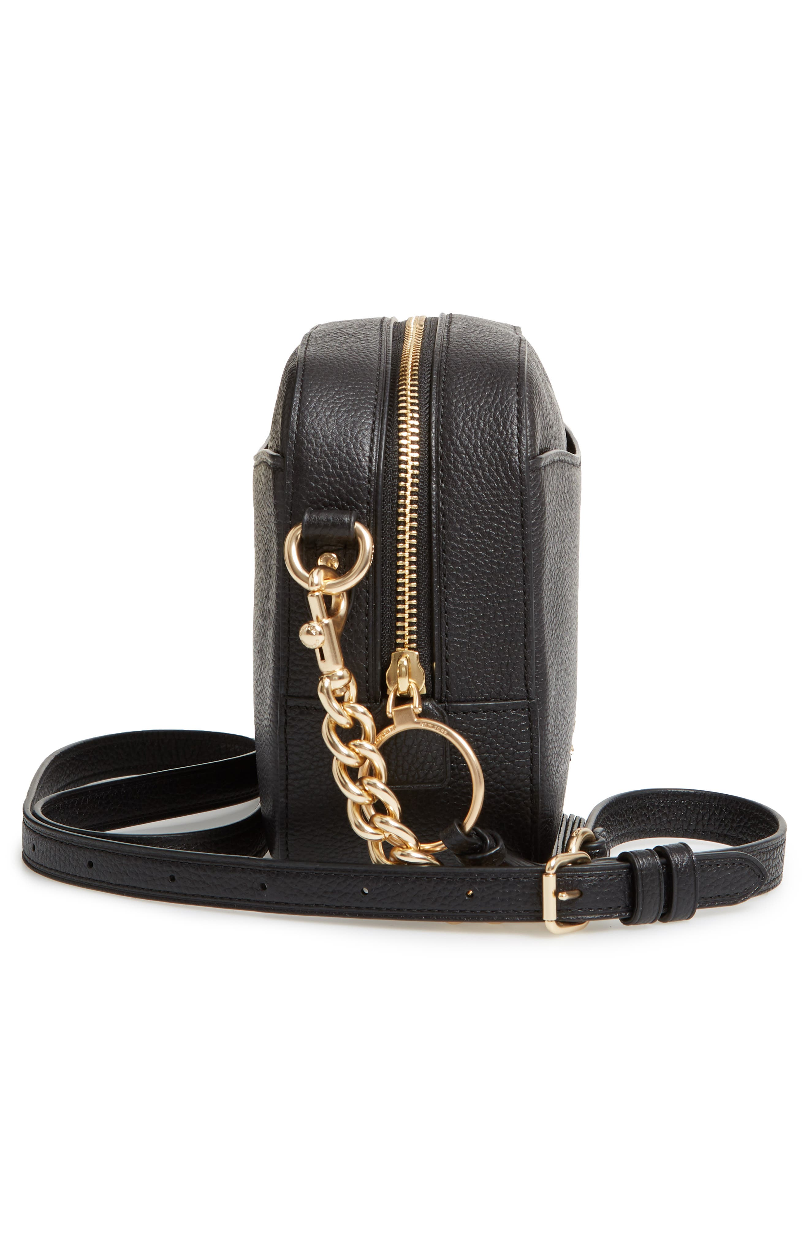 COACH, Pebbled Leather Camera Bag, Alternate thumbnail 6, color, BLACK