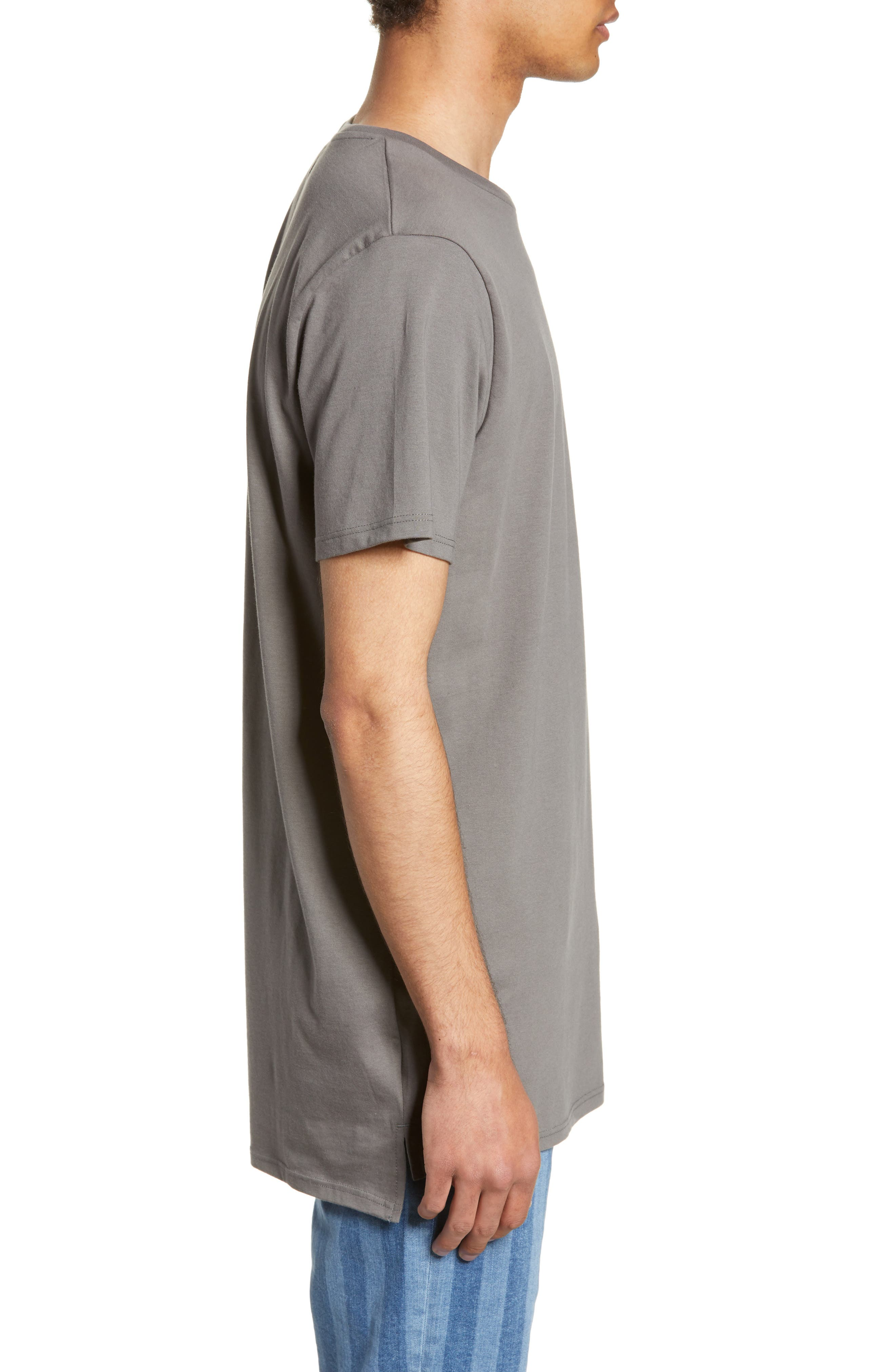 TOPMAN, Longline T-Shirt, Alternate thumbnail 3, color, GREY