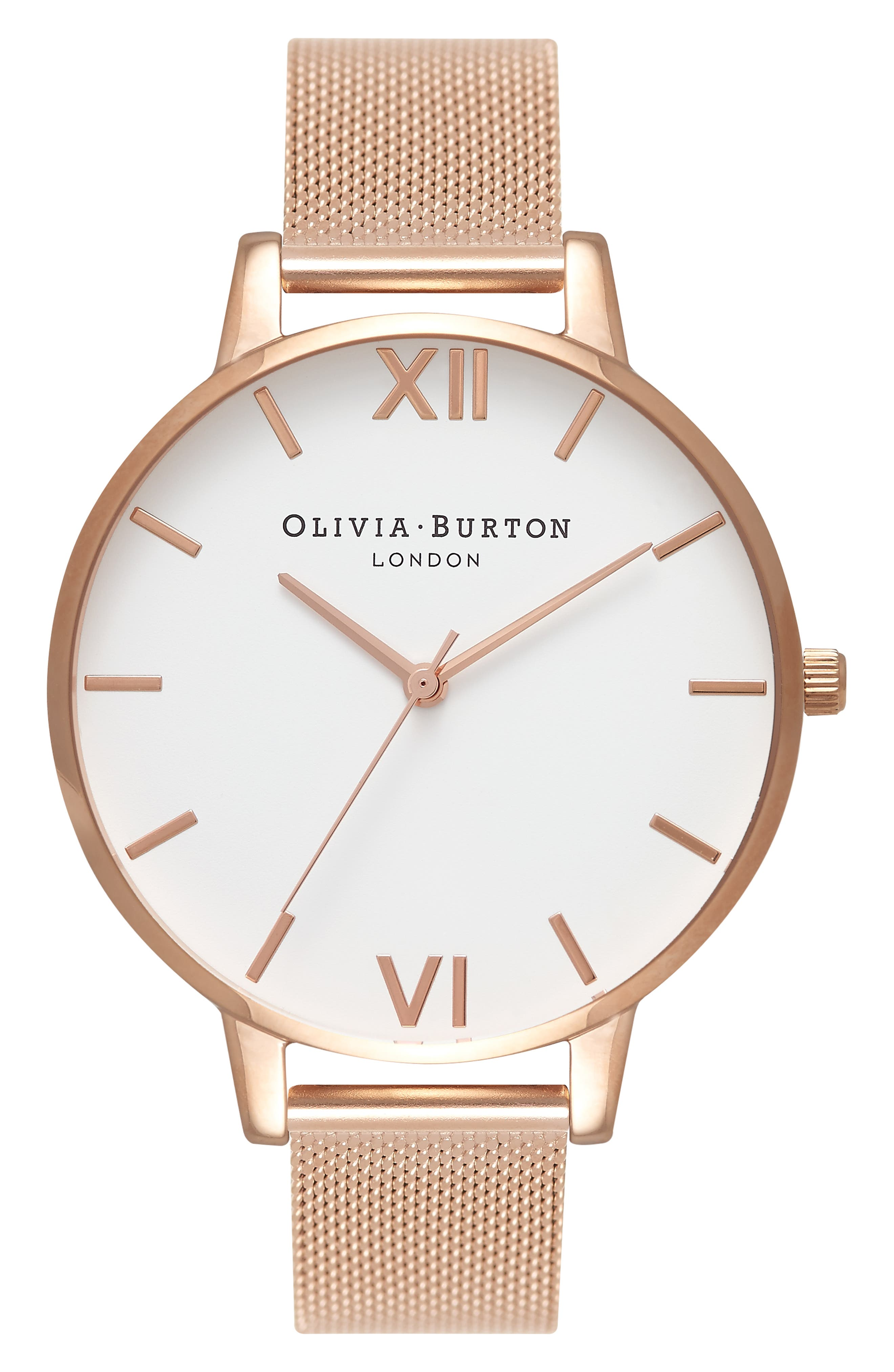 OLIVIA BURTON, 'Big Dial' Mesh Strap Watch, 38mm, Main thumbnail 1, color, ROSE GOLD/ WHITE