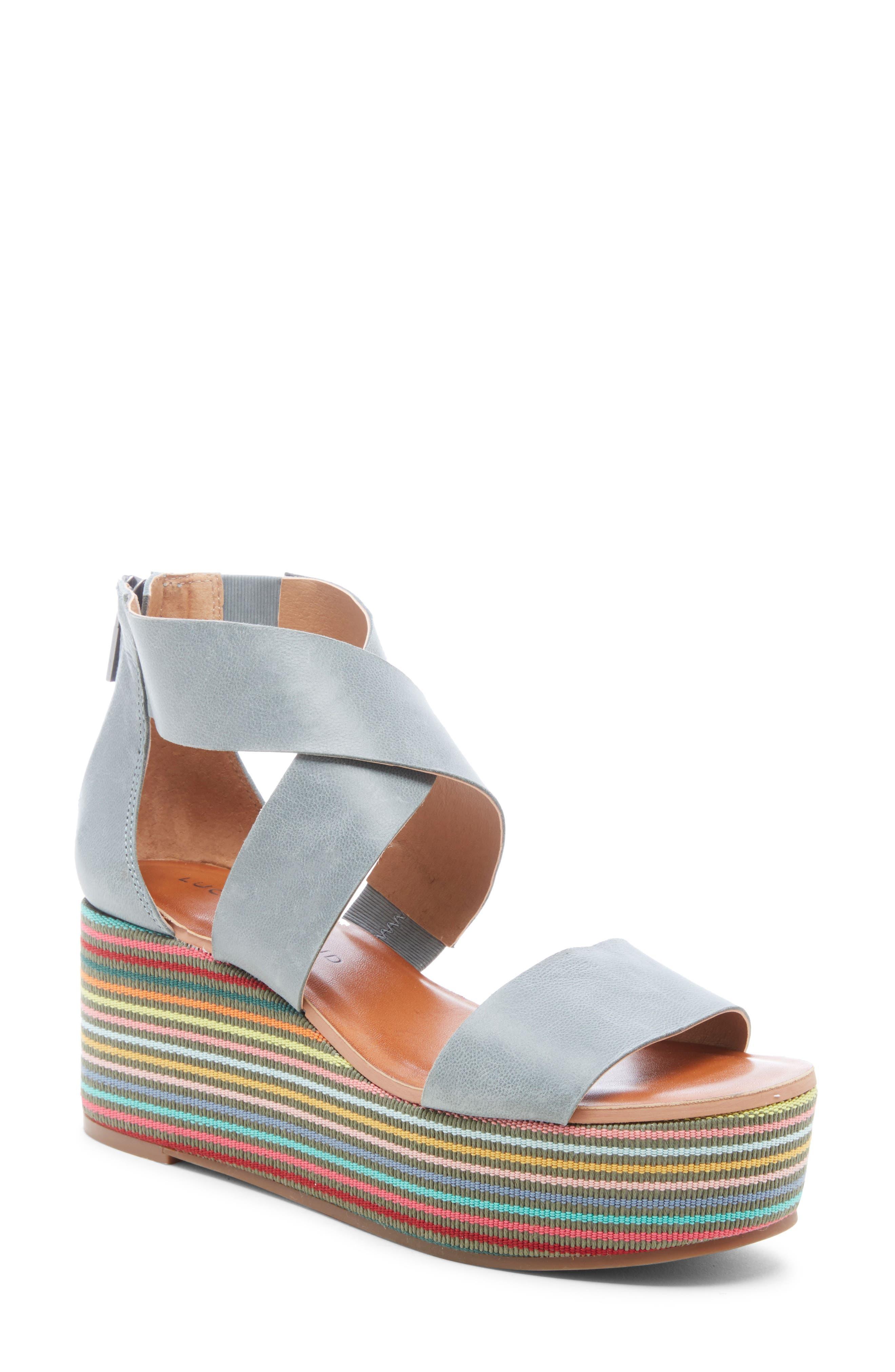 Lucky Brand Gwindolin Platform Wedge Sandal, Blue