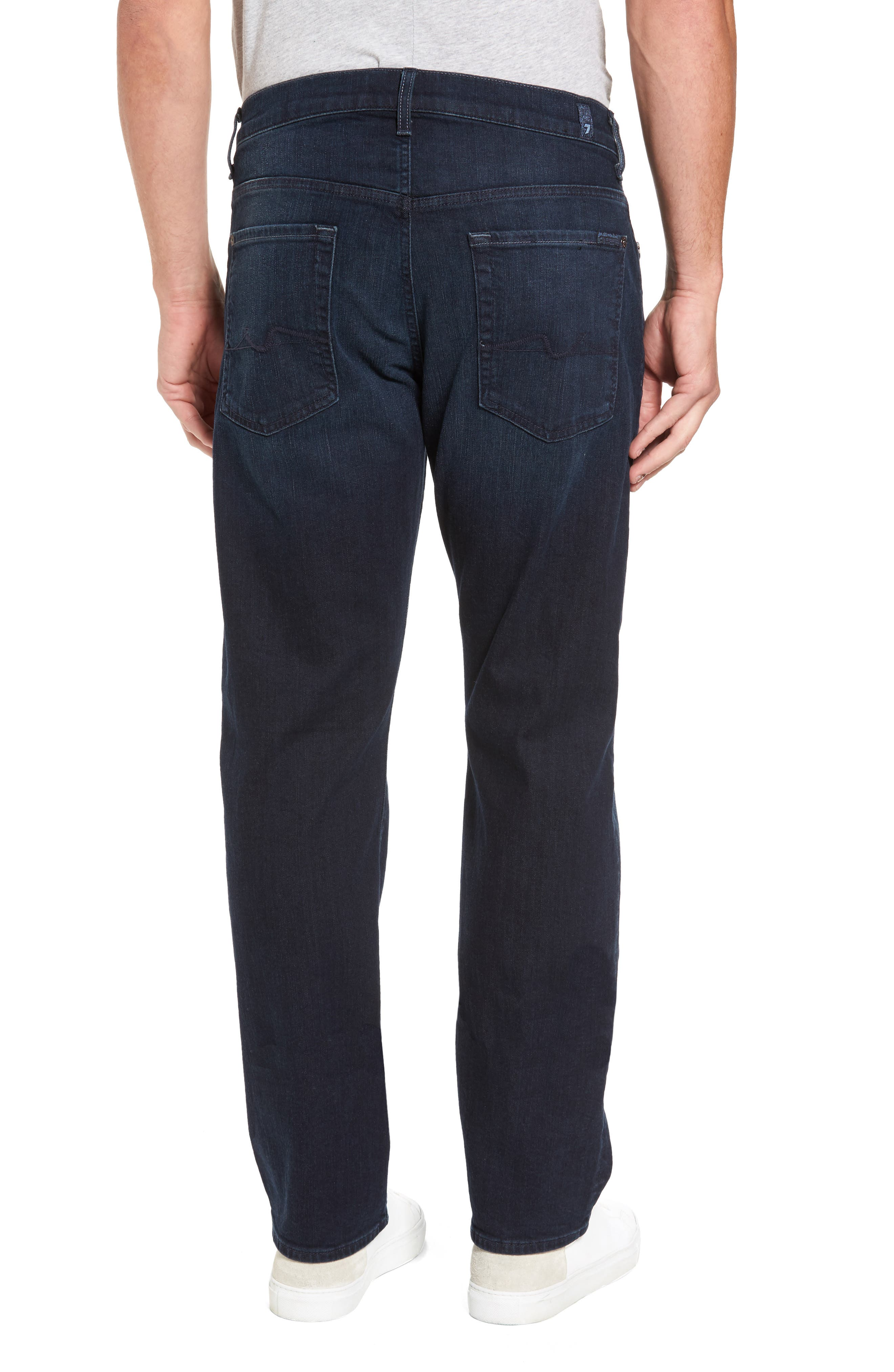 7 FOR ALL MANKIND<SUP>®</SUP>, Luxe Performance - Carsen Straight Leg Jeans, Alternate thumbnail 2, color, DARK CURRENT