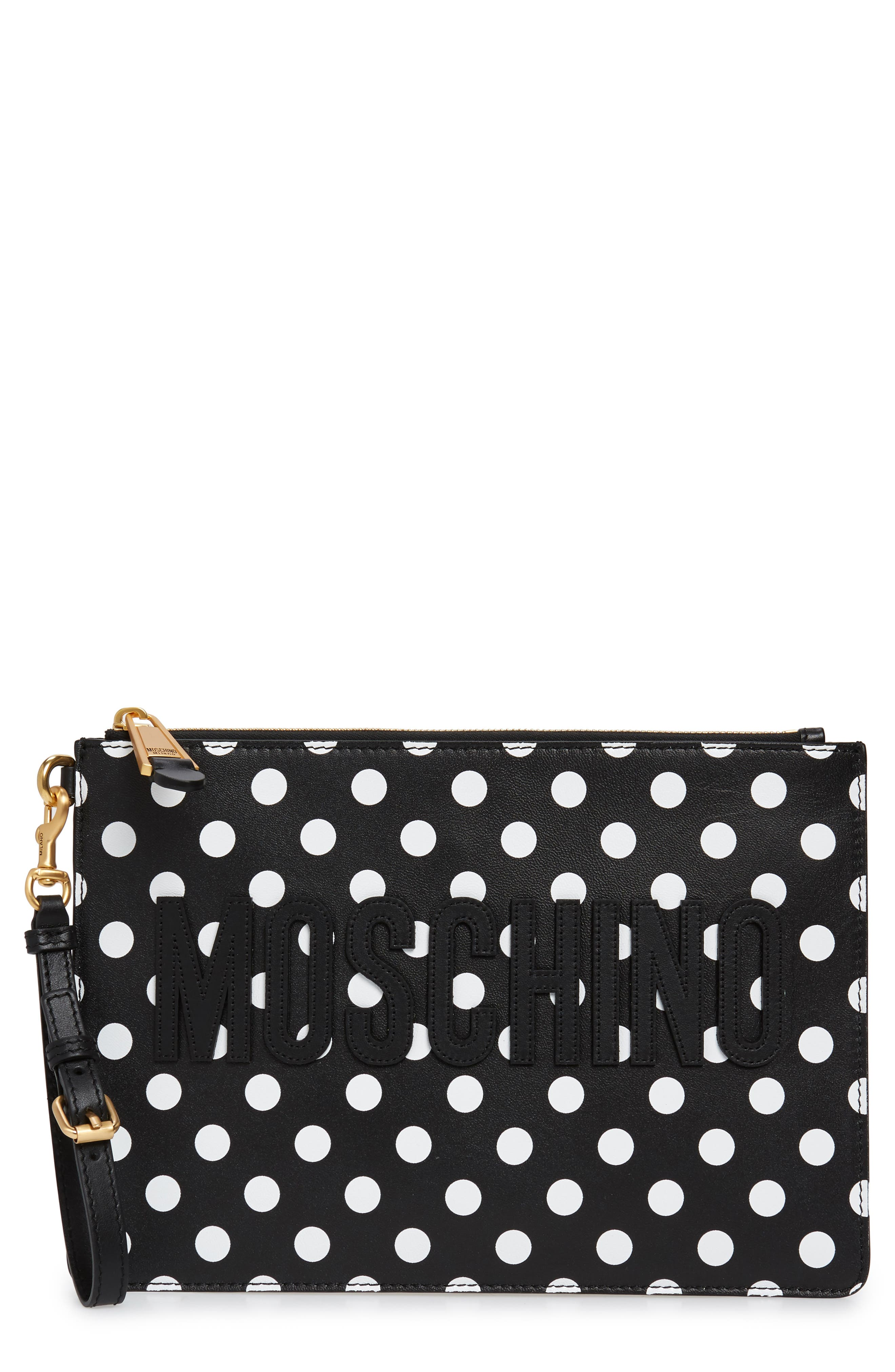 MOSCHINO, Logo Polka Dot Faux Leather Pouch, Main thumbnail 1, color, BLACK