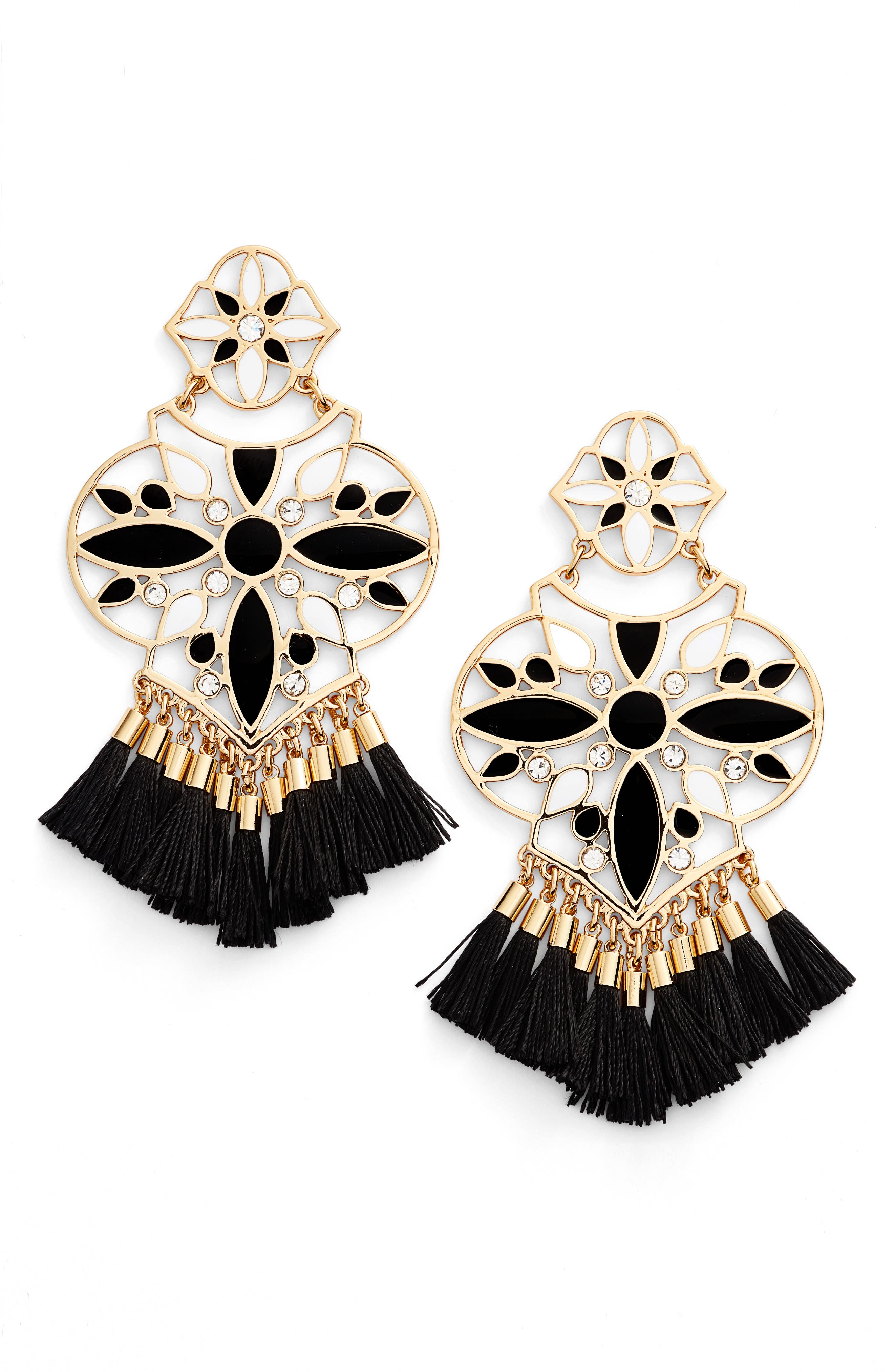 KATE SPADE NEW YORK, moroccan tile chandelier earrings, Main thumbnail 1, color, 001