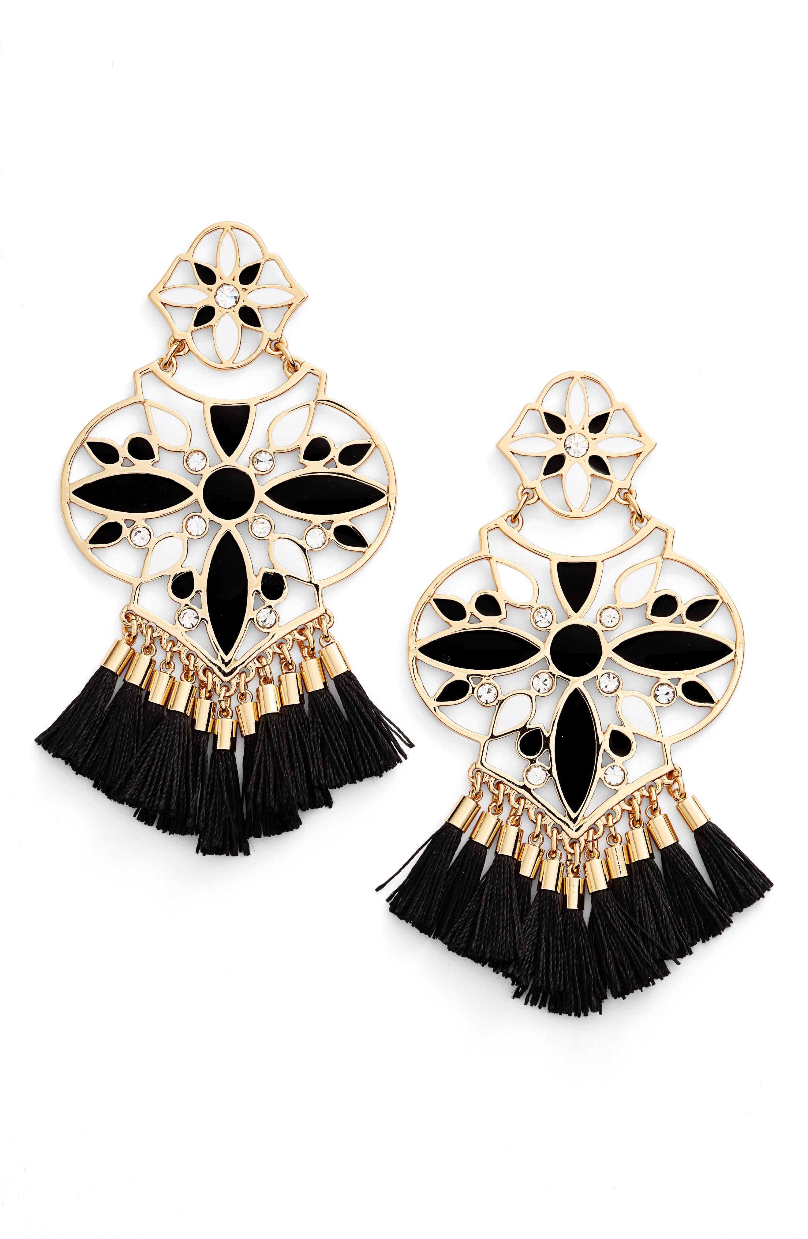 KATE SPADE NEW YORK moroccan tile chandelier earrings, Main, color, 001