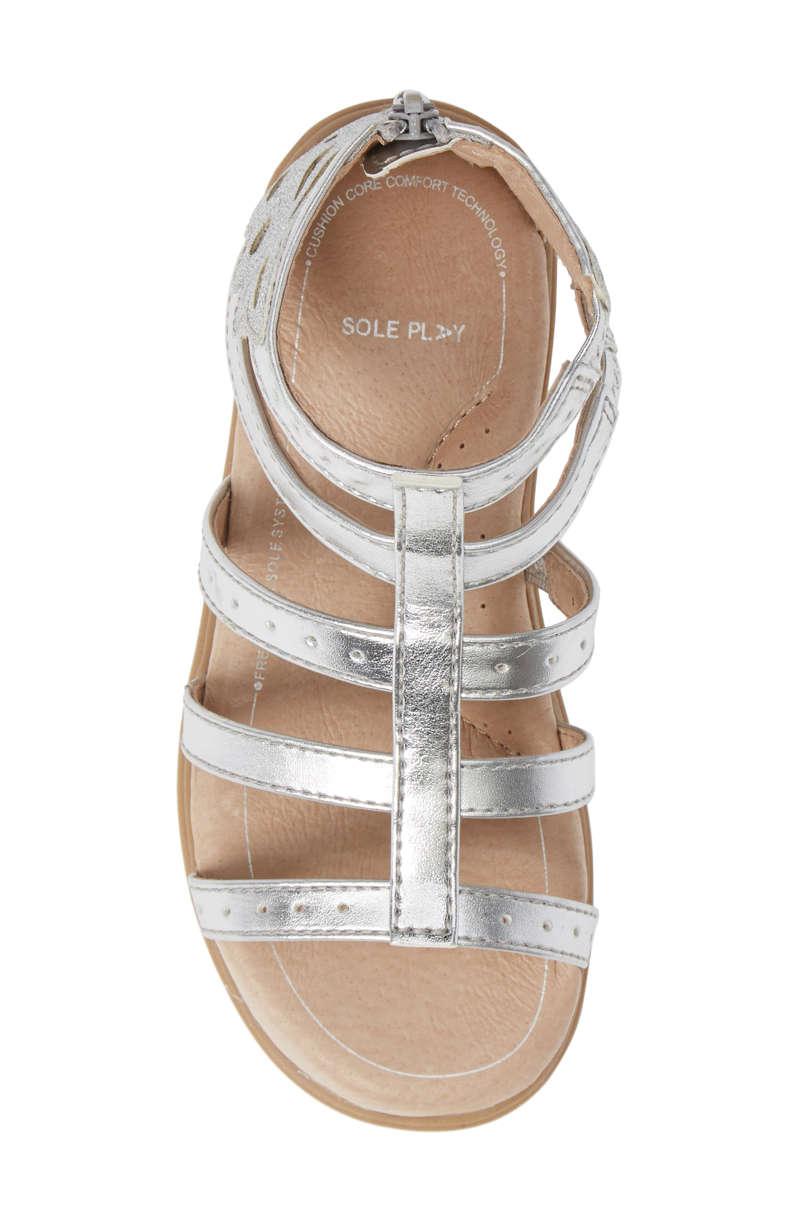 SOLE PLAY, Camille Metallic Sandal, Alternate thumbnail 5, color, SILVER