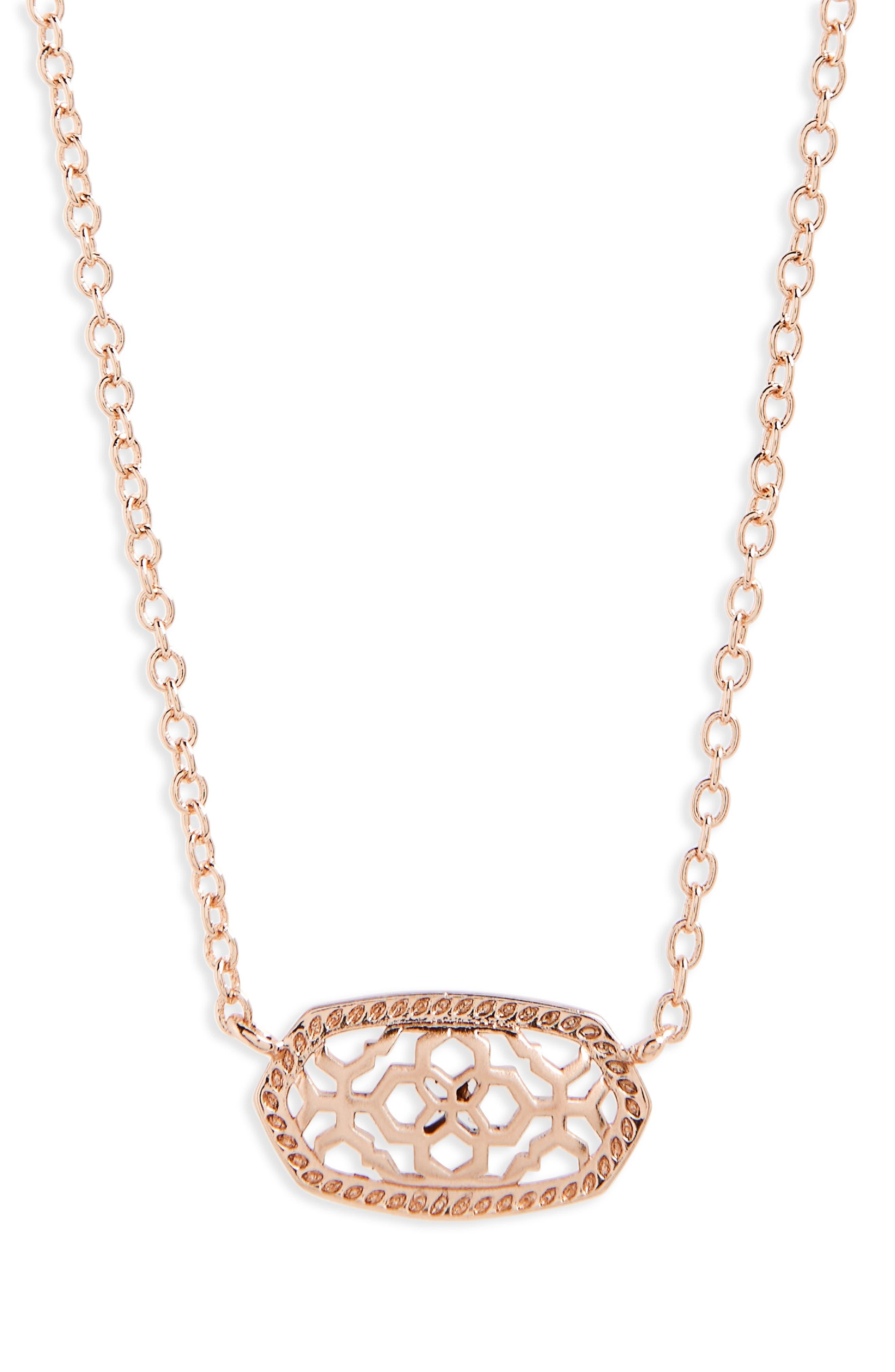 KENDRA SCOTT, Elisa Filigree Pendant Necklace, Main thumbnail 1, color, ROSE GOLD FILIGREE