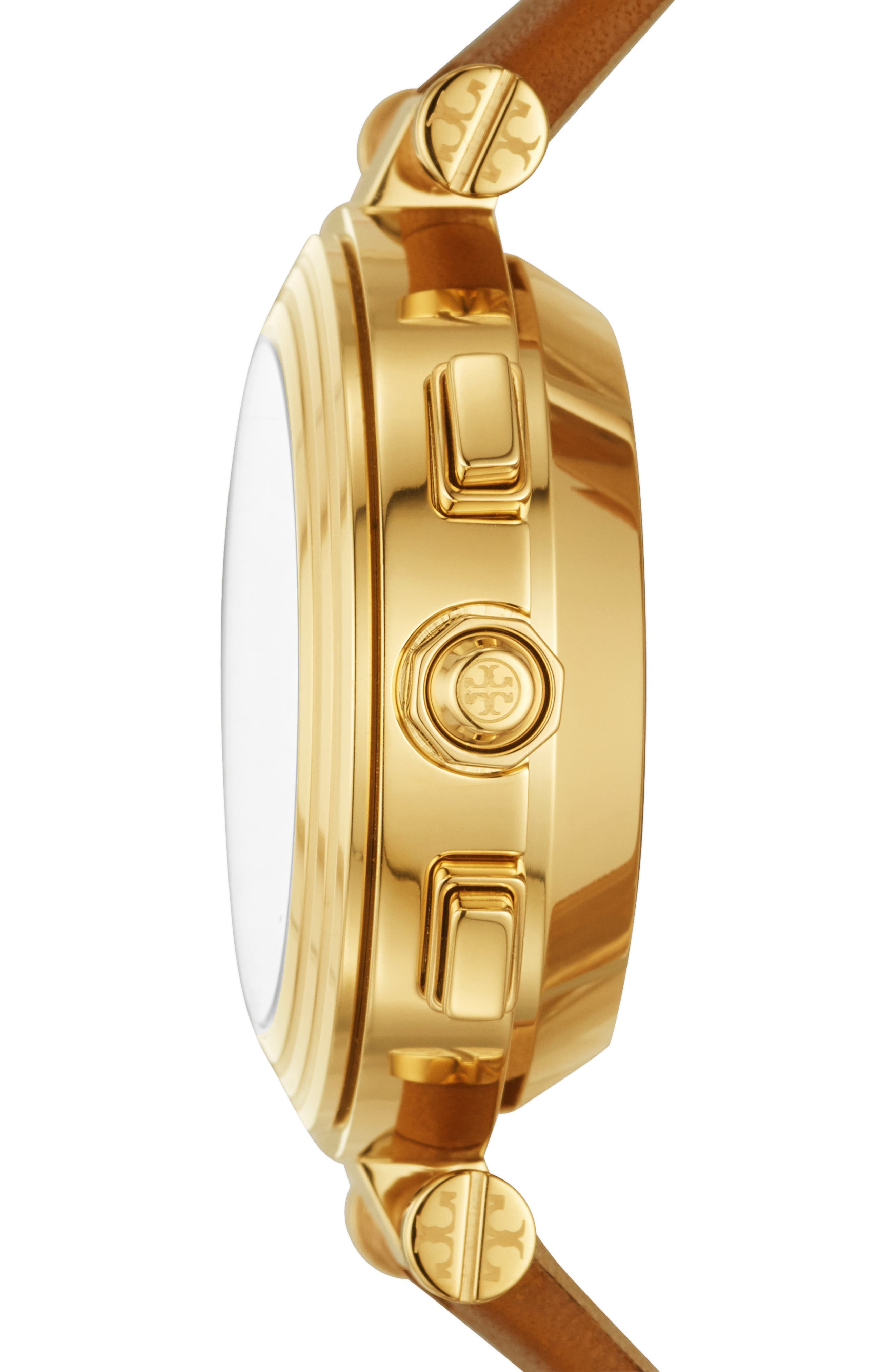 TORY BURCH, ToryTrack Hybrid Smart Watch, 36mm x 46mm, Alternate thumbnail 2, color, BROWN/ WHITE/ GOLD