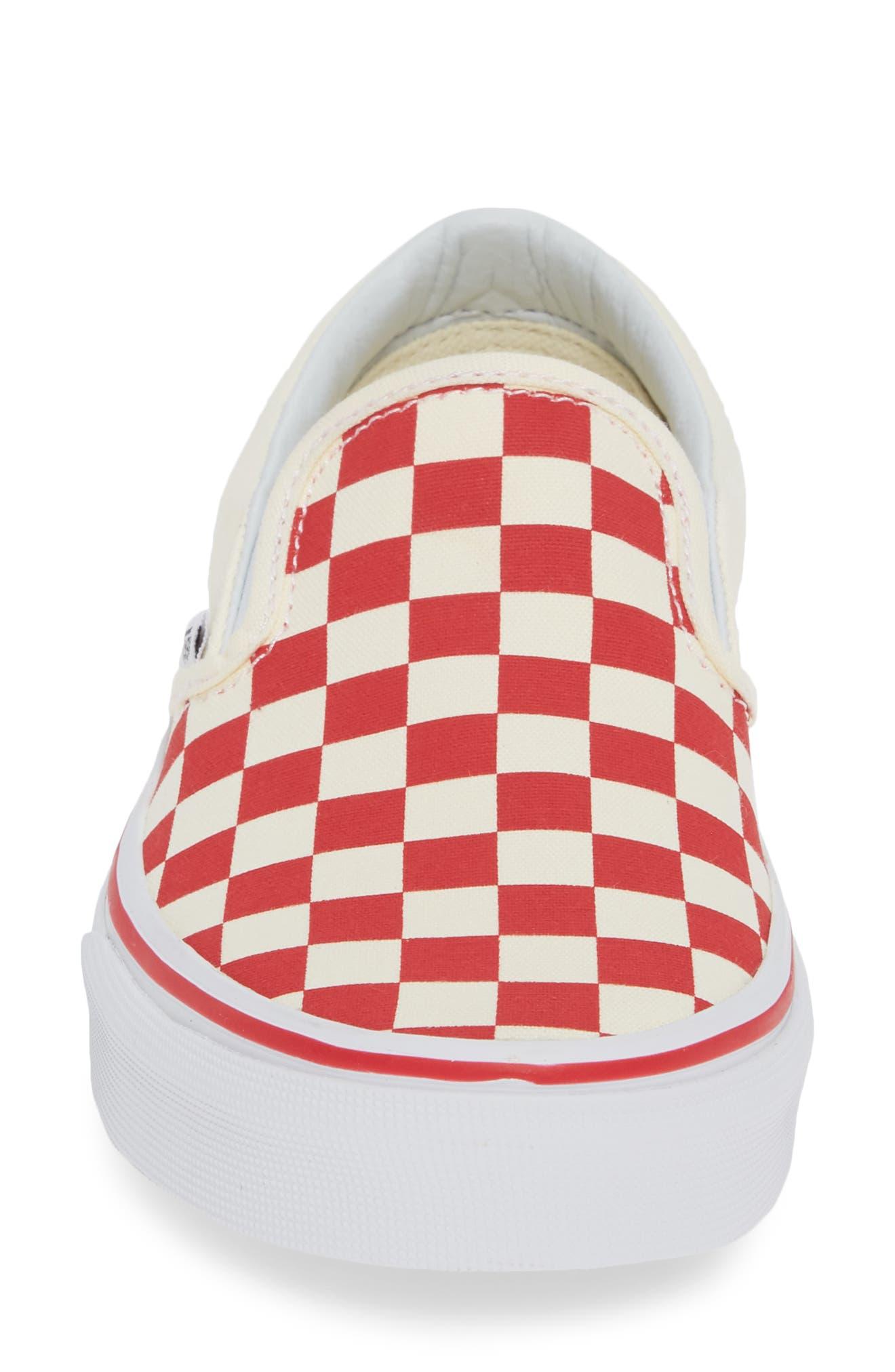 VANS, 'Classic' Slip-On, Alternate thumbnail 4, color, RACING RED/ WHITE