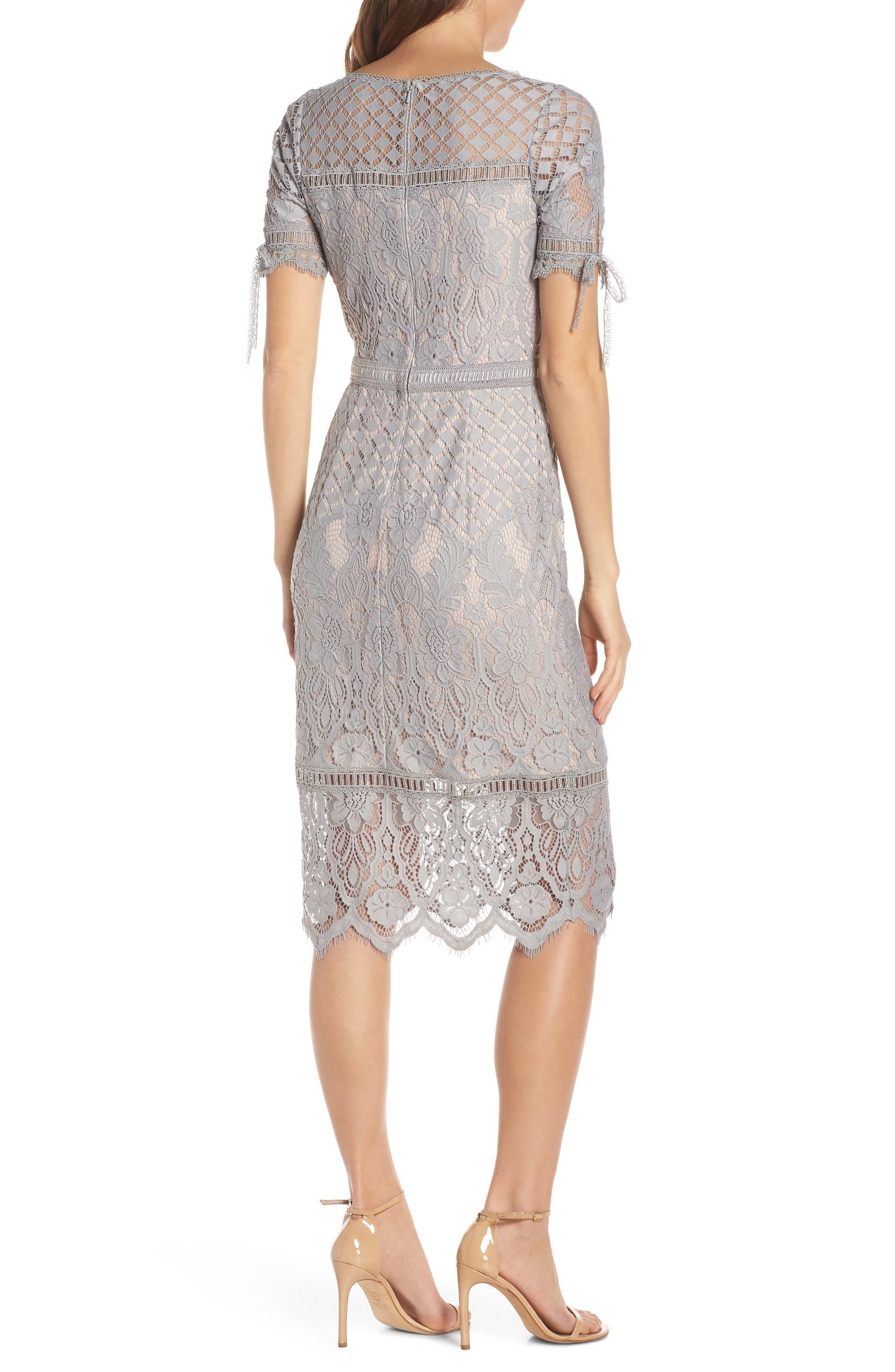 TADASHI SHOJI, Tie Sleeve Lace Sheath Dress, Alternate thumbnail 2, color, PEWTER/ PETAL
