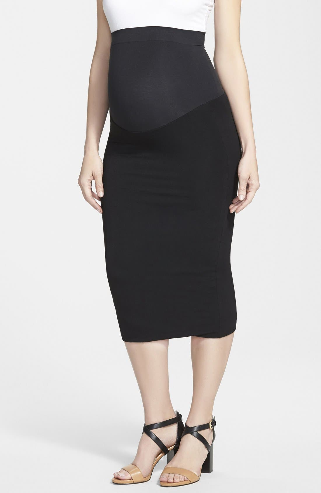 INGRID & ISABEL<SUP>®</SUP>, Midi Maternity Skirt, Main thumbnail 1, color, 001