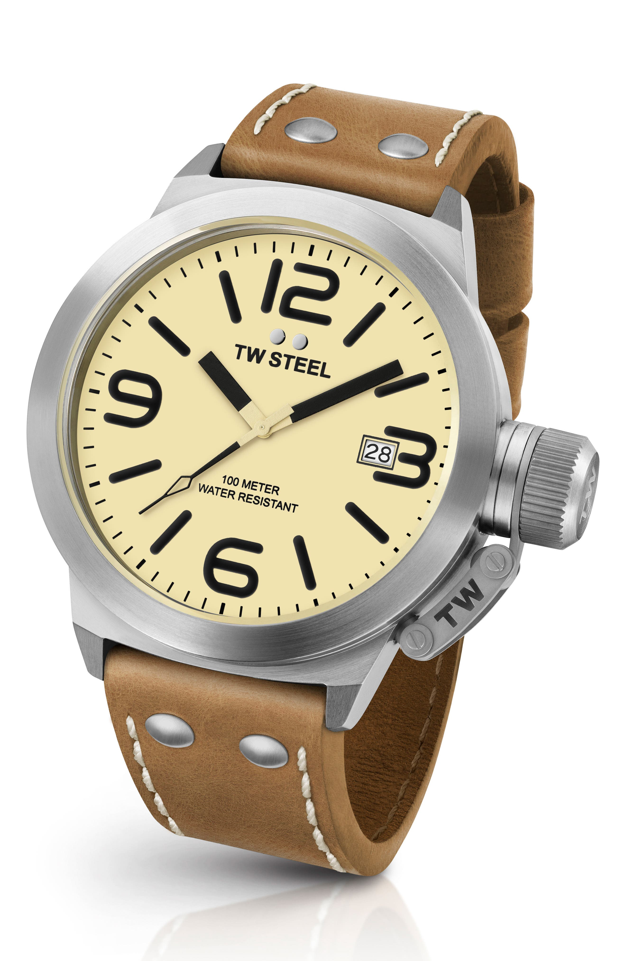 TW STEEL, Canteen Leather Strap Watch, 50mm, Main thumbnail 1, color, TAN/ CREAM/ SILVER