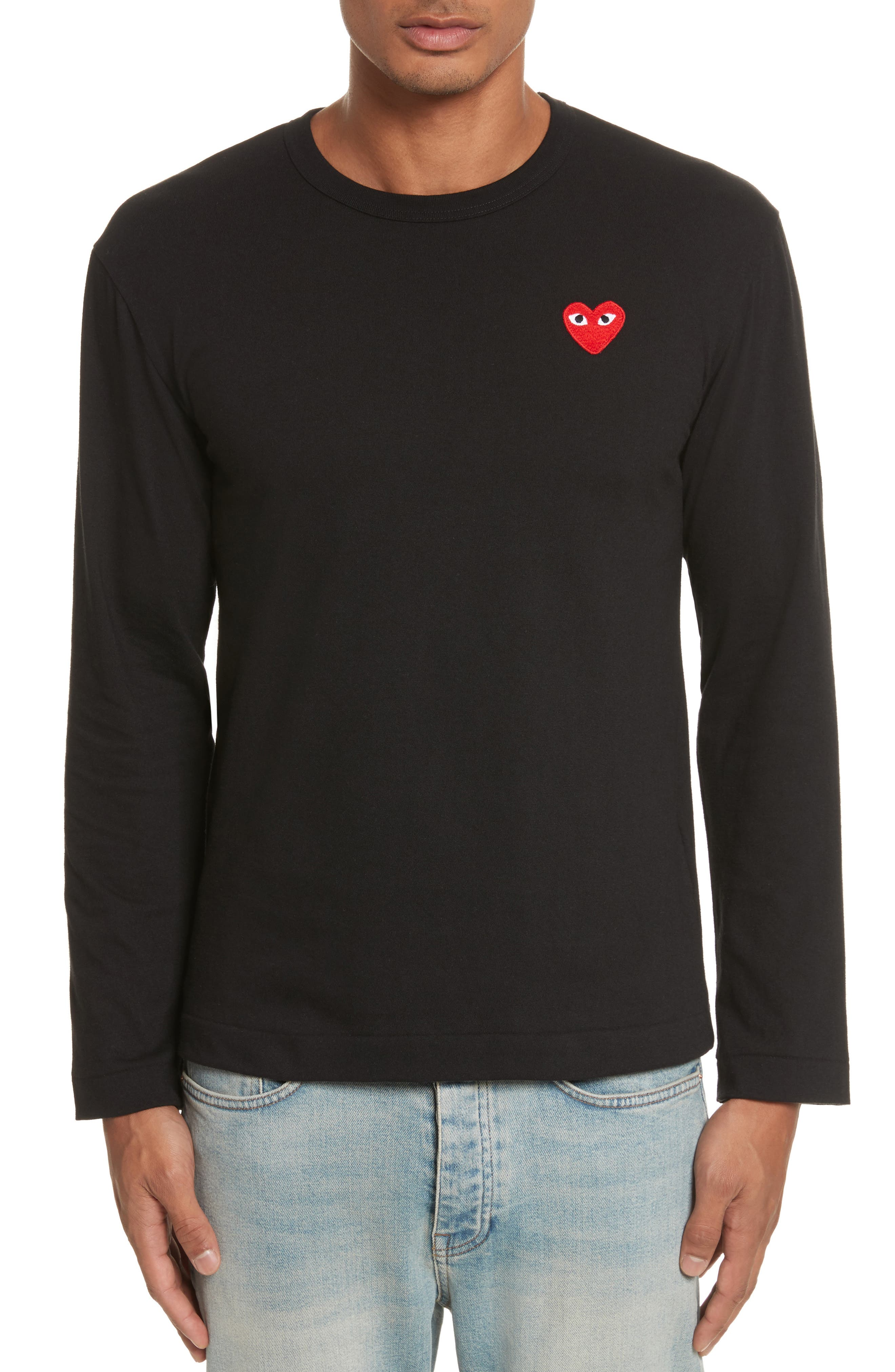 COMME DES GARÇONS PLAY, Long Sleeve T-Shirt, Main thumbnail 1, color, 001