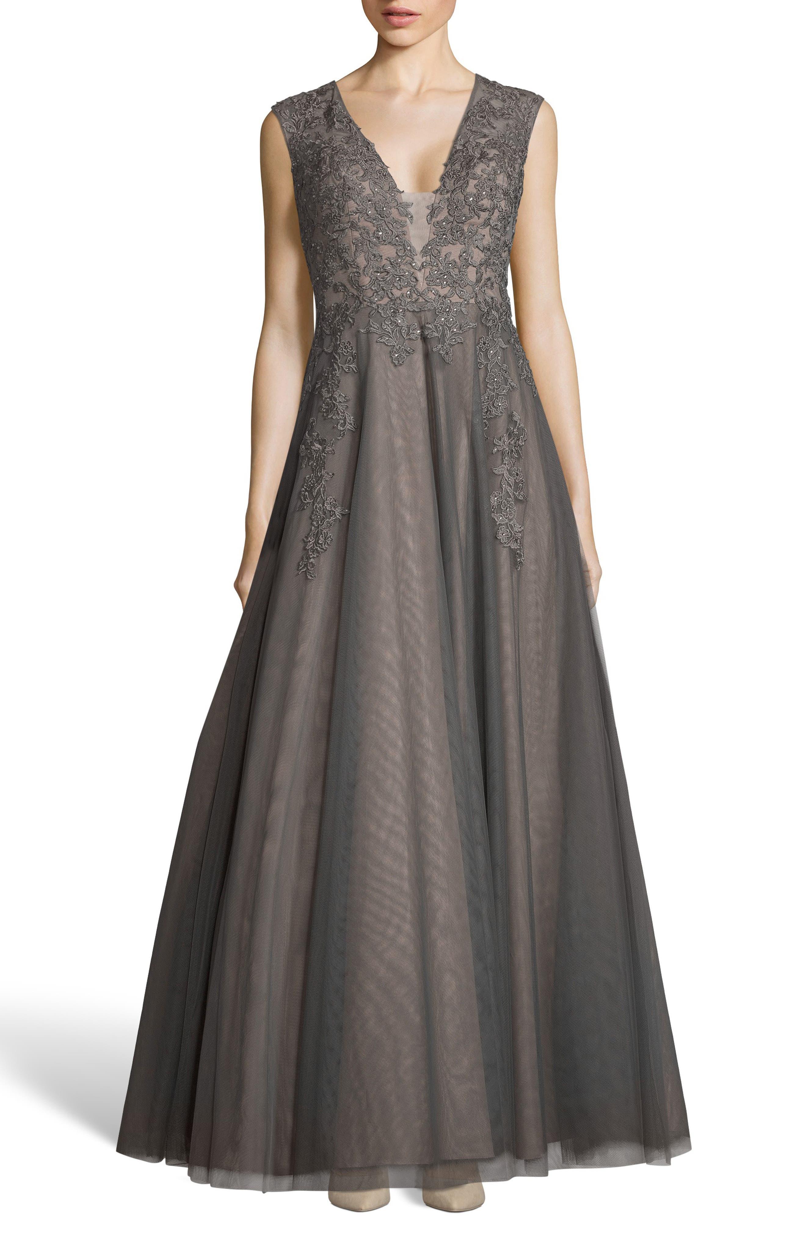 Xscape Applique Mesh Evening Dress, Grey