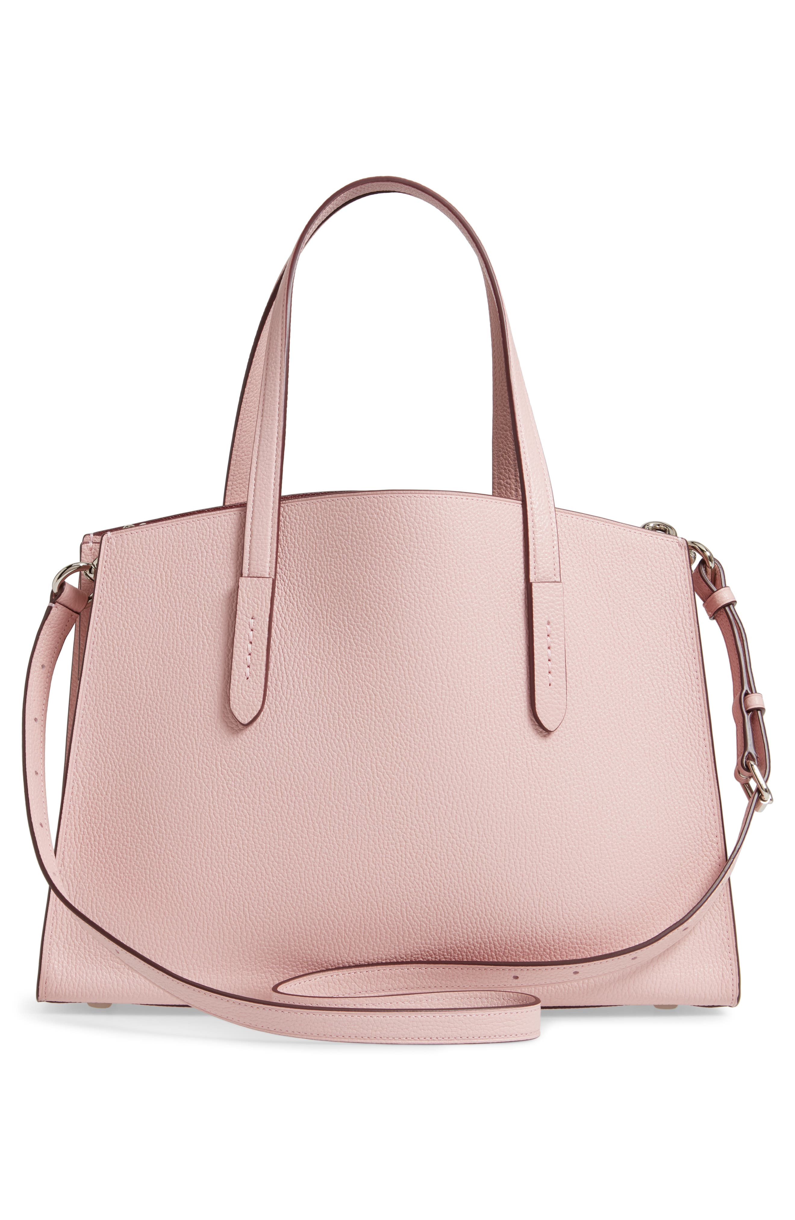 COACH, Charlie Leather Tote, Alternate thumbnail 4, color, BLOSSOM/ SILVER