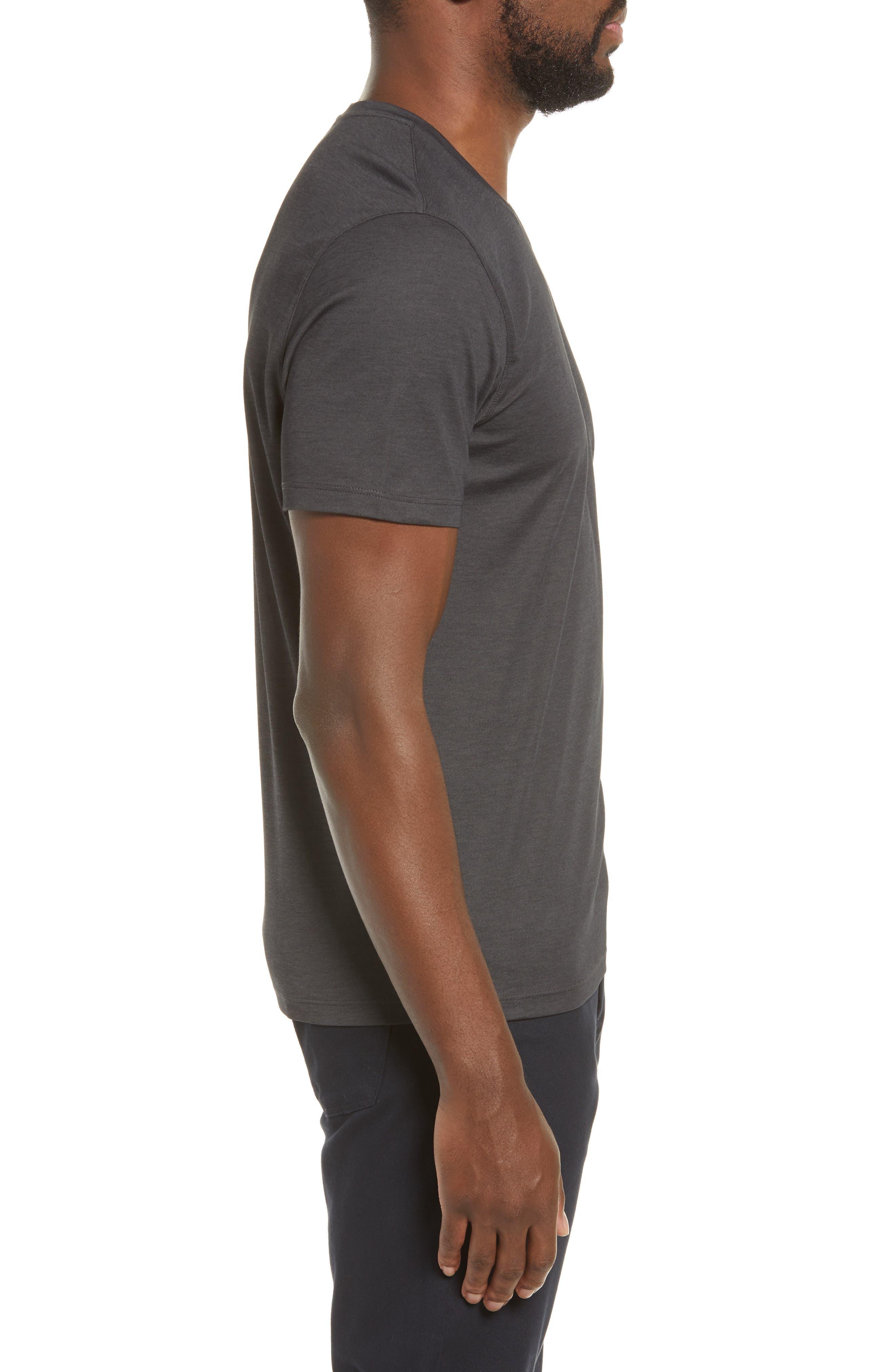ZACHARY PRELL, Brookville Regular Fit Piqué T-Shirt, Alternate thumbnail 3, color, BLACK