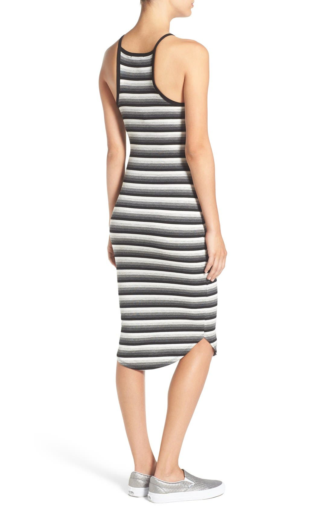 SOPRANO, Stripe Rib Knit Midi Dress, Alternate thumbnail 2, color, 001