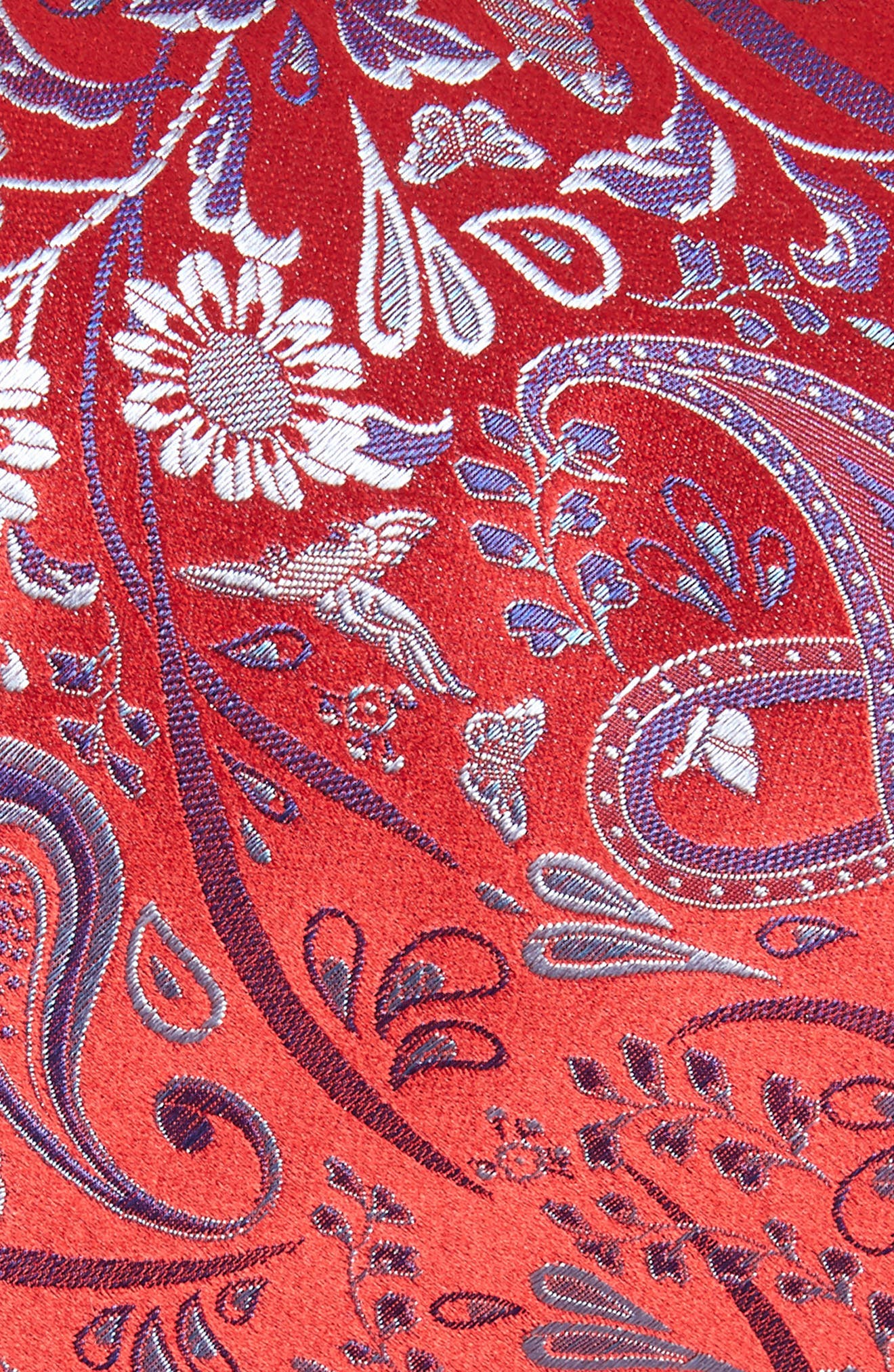 CANALI, Paisley Silk Tie, Alternate thumbnail 2, color, RED