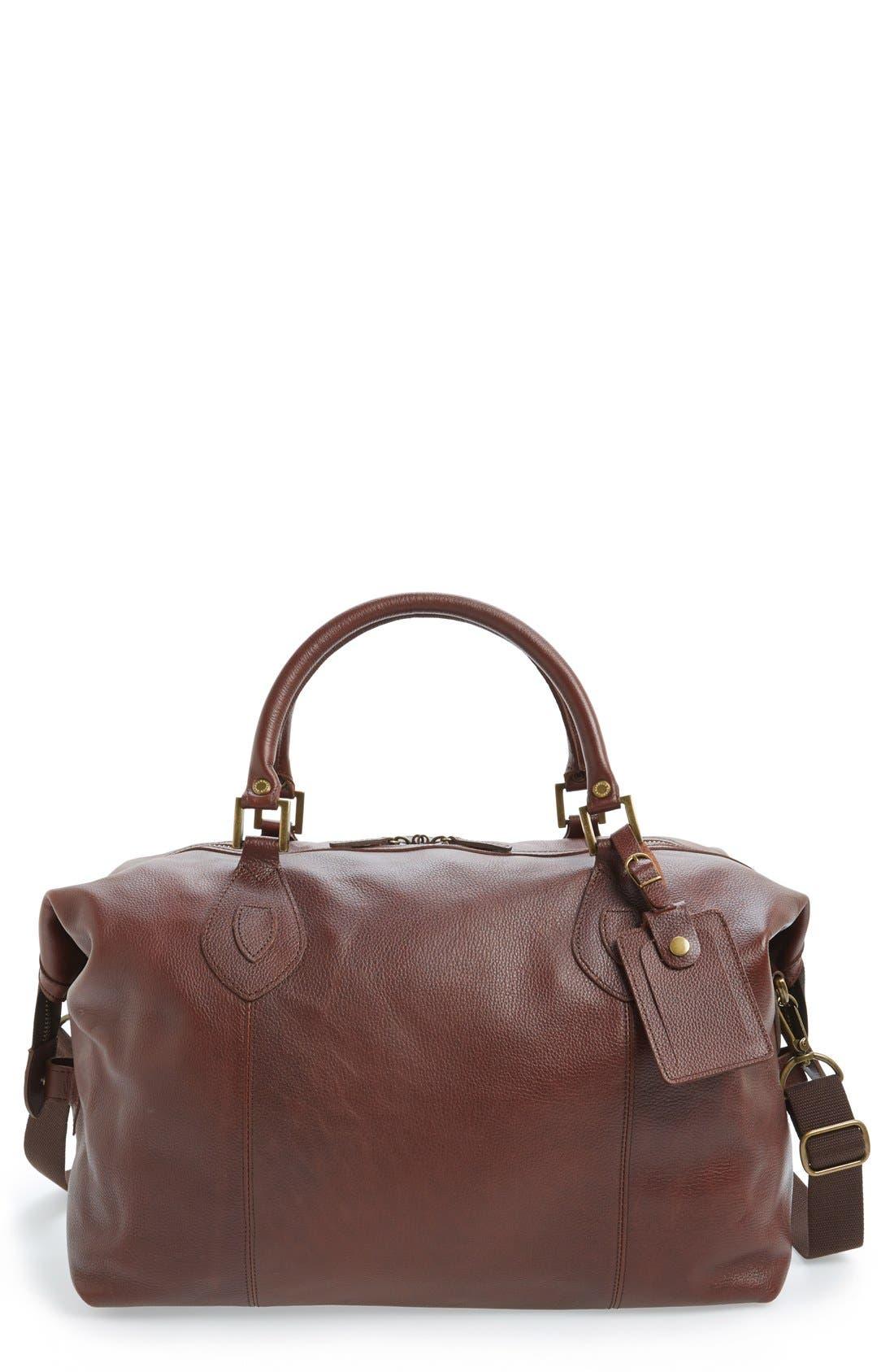 BARBOUR Leather Travel Bag, Main, color, DARK BROWN