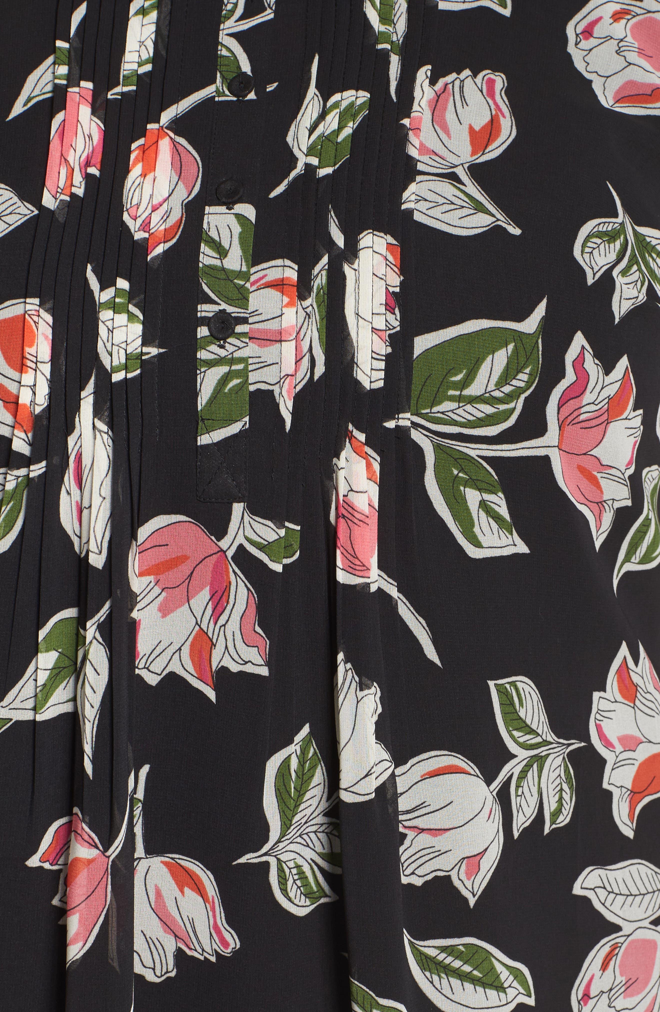 DANIEL RAINN, Pintuck Pleat Roll Sleeve Blouse, Alternate thumbnail 5, color, 001