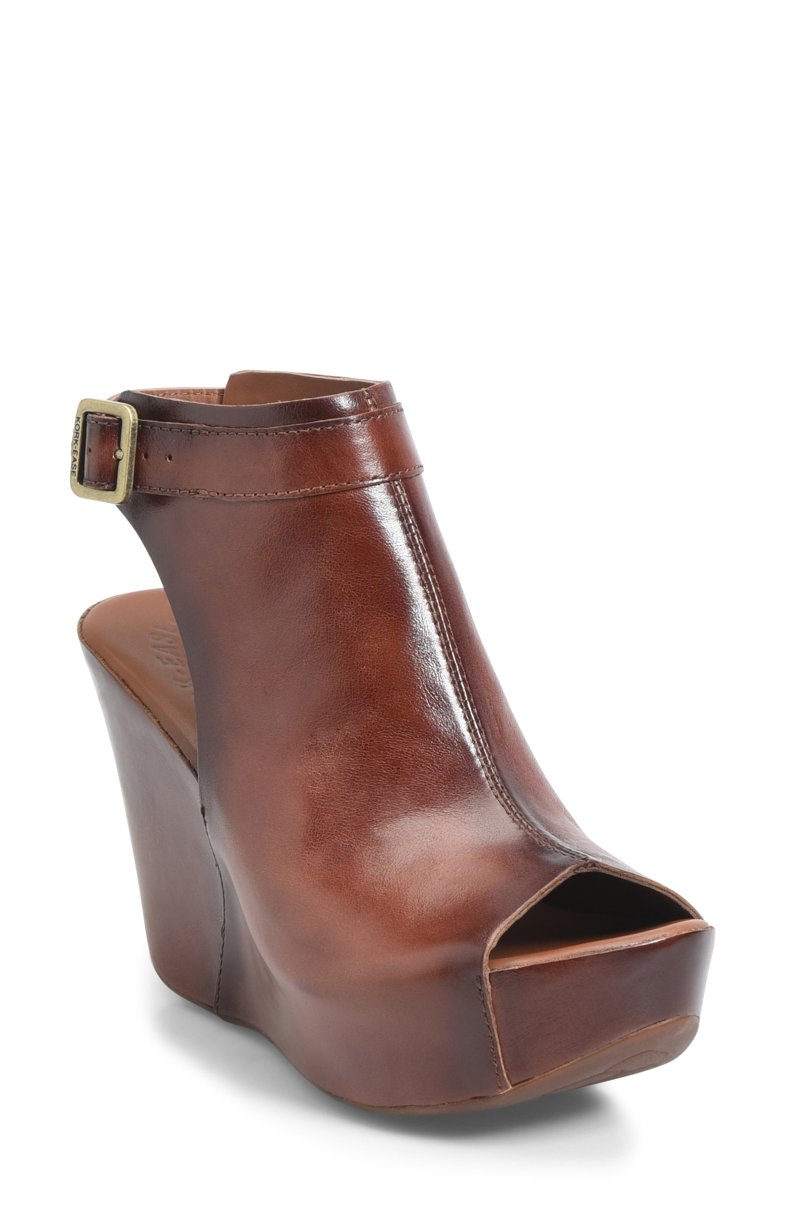 KORK-EASE<SUP>®</SUP> 'Berit' Wedge Sandal, Main, color, BROWN LEATHER