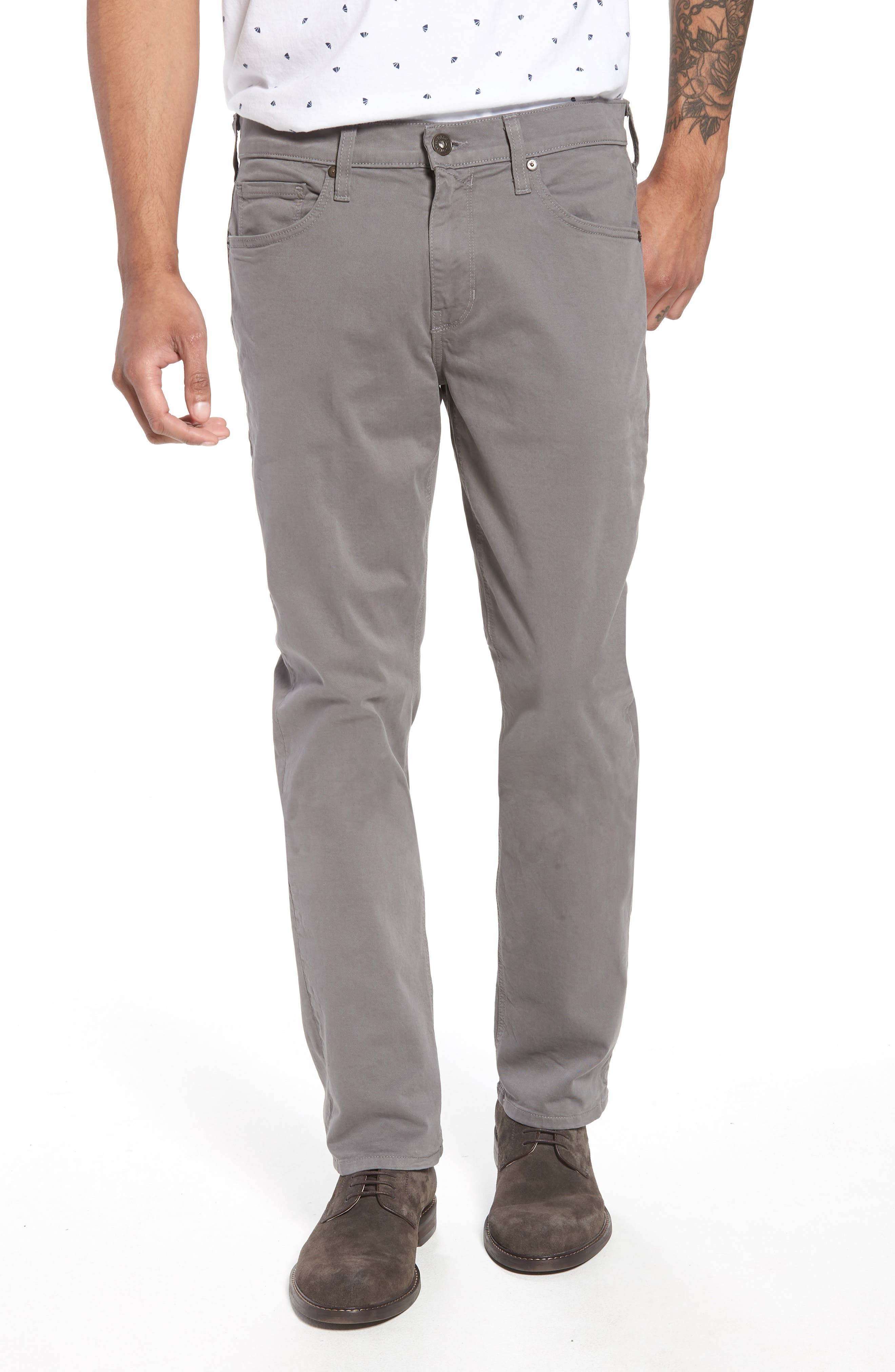 PAIGE, 'Federal' Slim Straight Leg Twill Pants, Main thumbnail 1, color, 022
